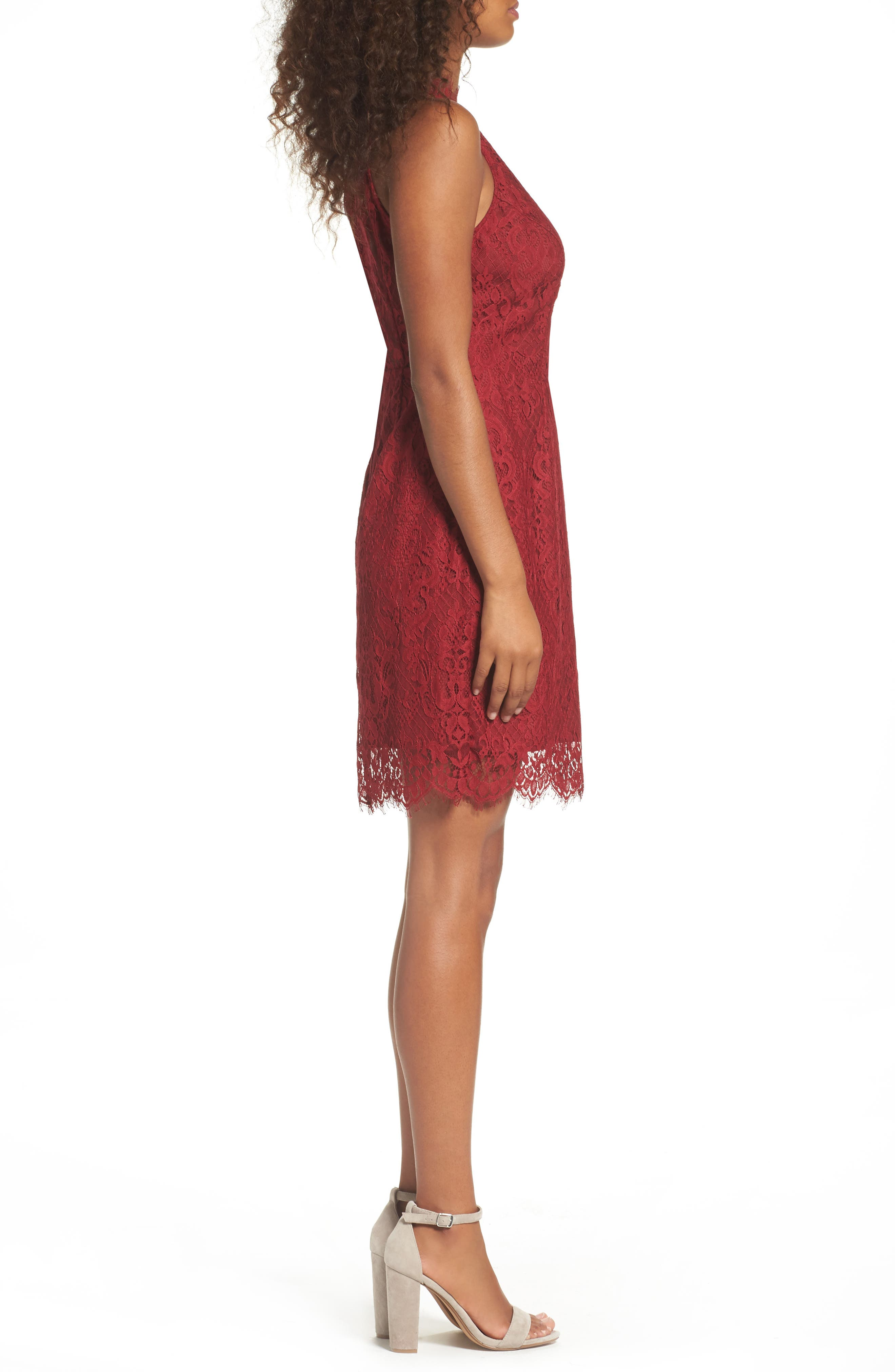 Cherie Lace Sheath Dress,                             Alternate thumbnail 3, color,                             Pomegranate