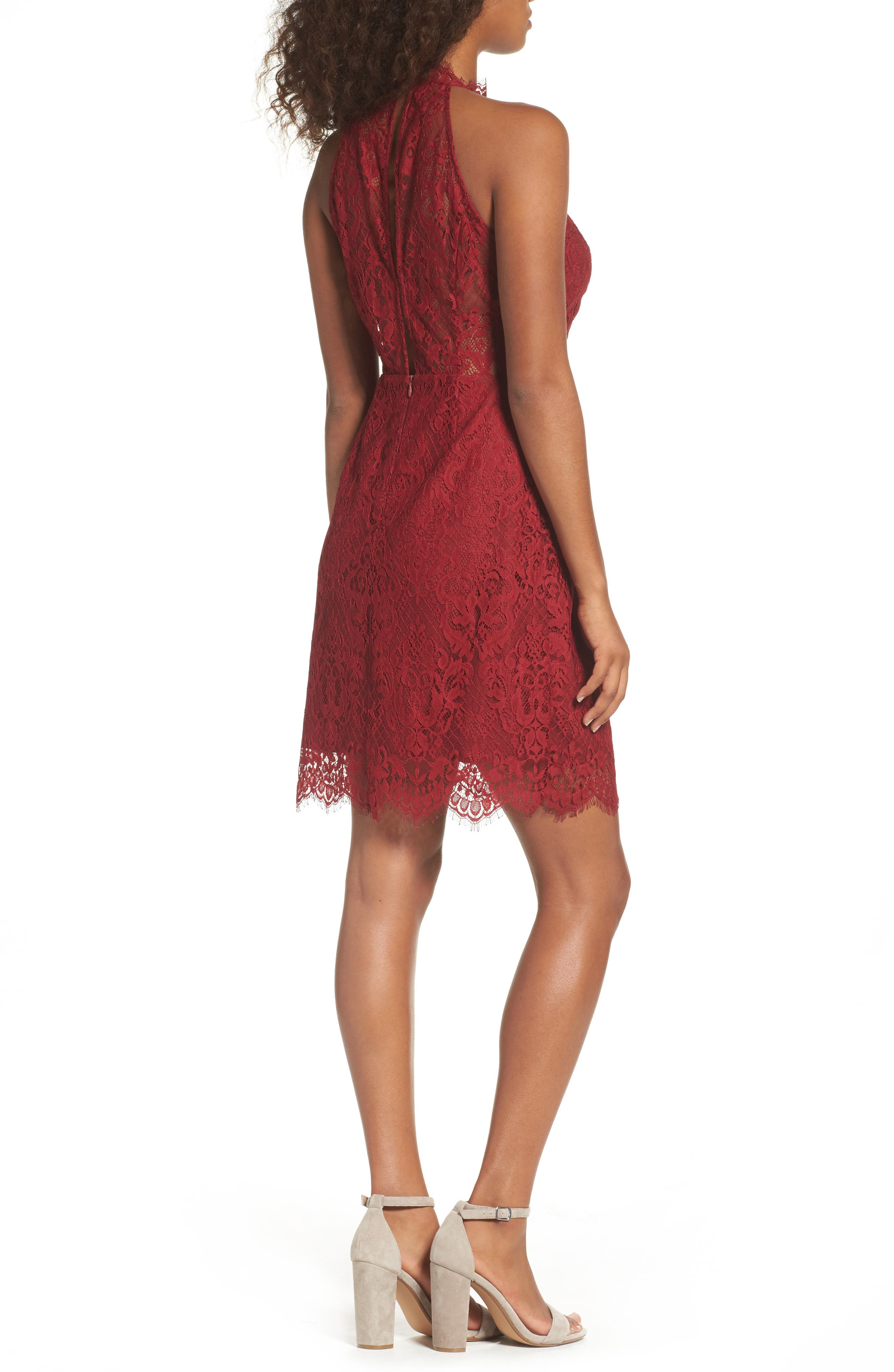 Cherie Lace Sheath Dress,                             Alternate thumbnail 2, color,                             Pomegranate