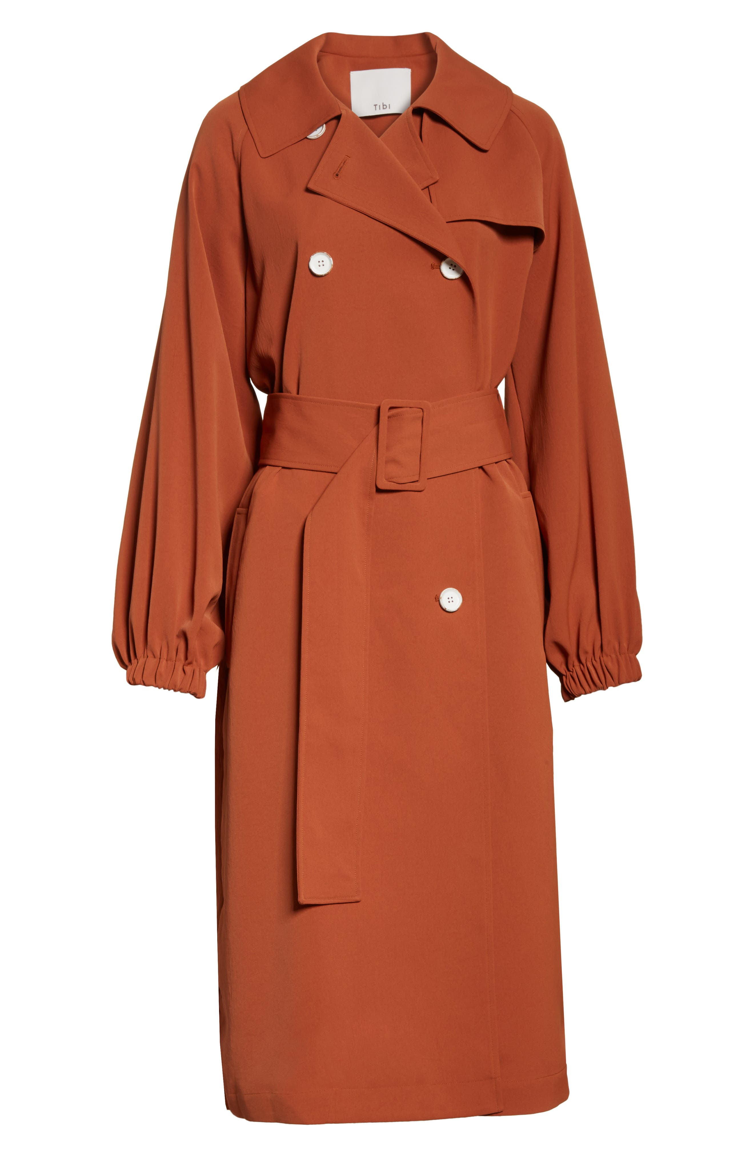 Draped Twill Trench Coat,                             Alternate thumbnail 6, color,                             Rust