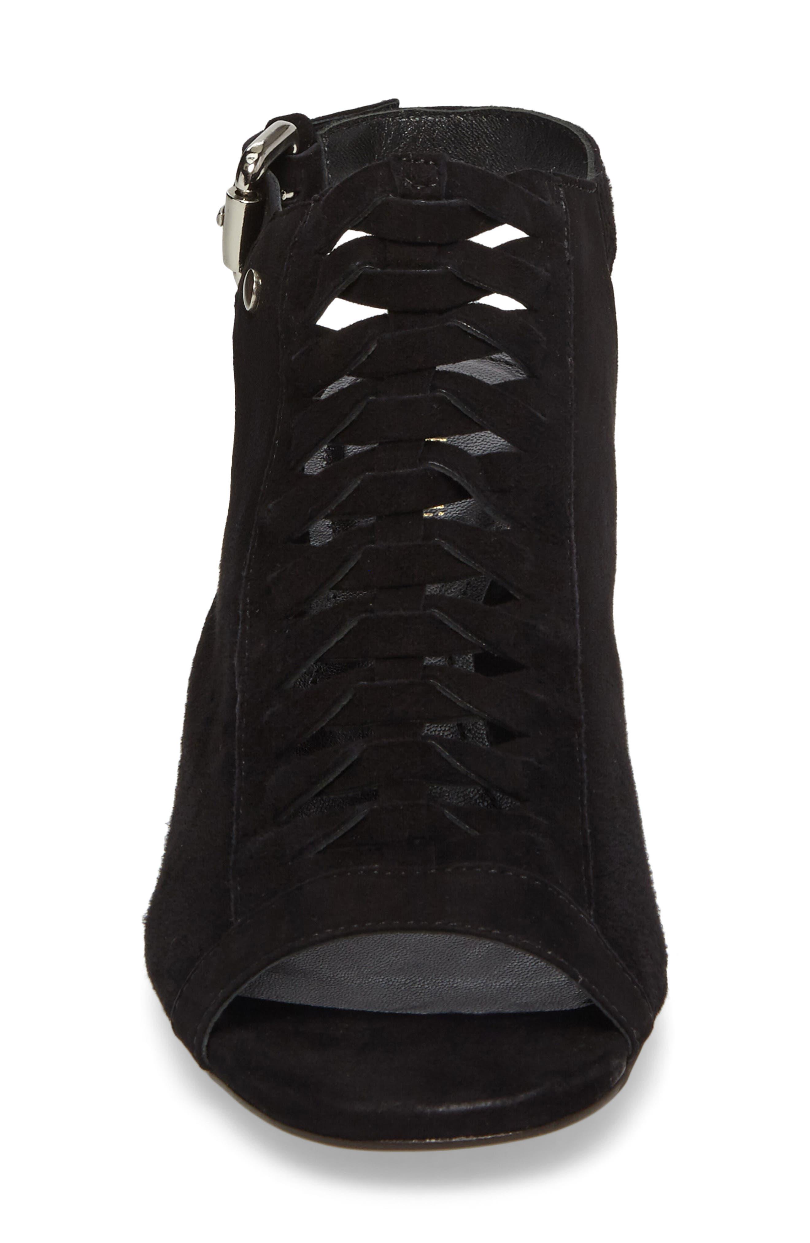 Dallas Woven Sandal,                             Alternate thumbnail 4, color,                             Black Suede