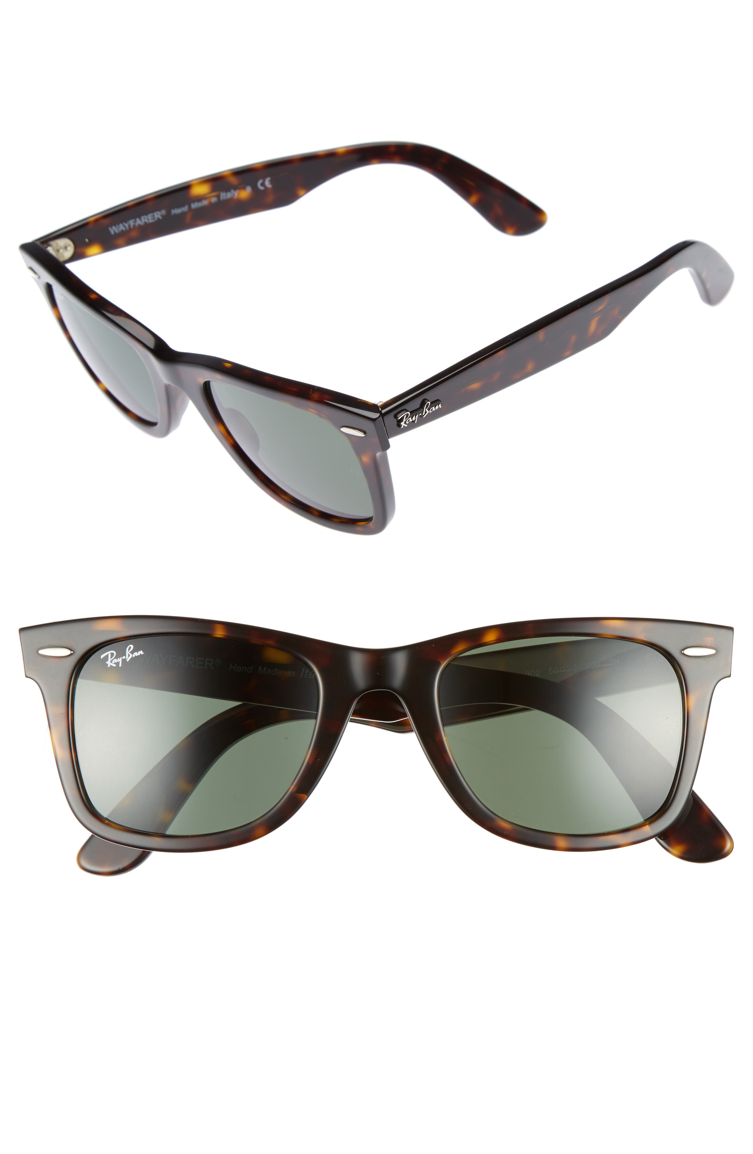 'Classic Wayfarer' 50mm Sunglasses,                             Main thumbnail 1, color,                             Tortoise