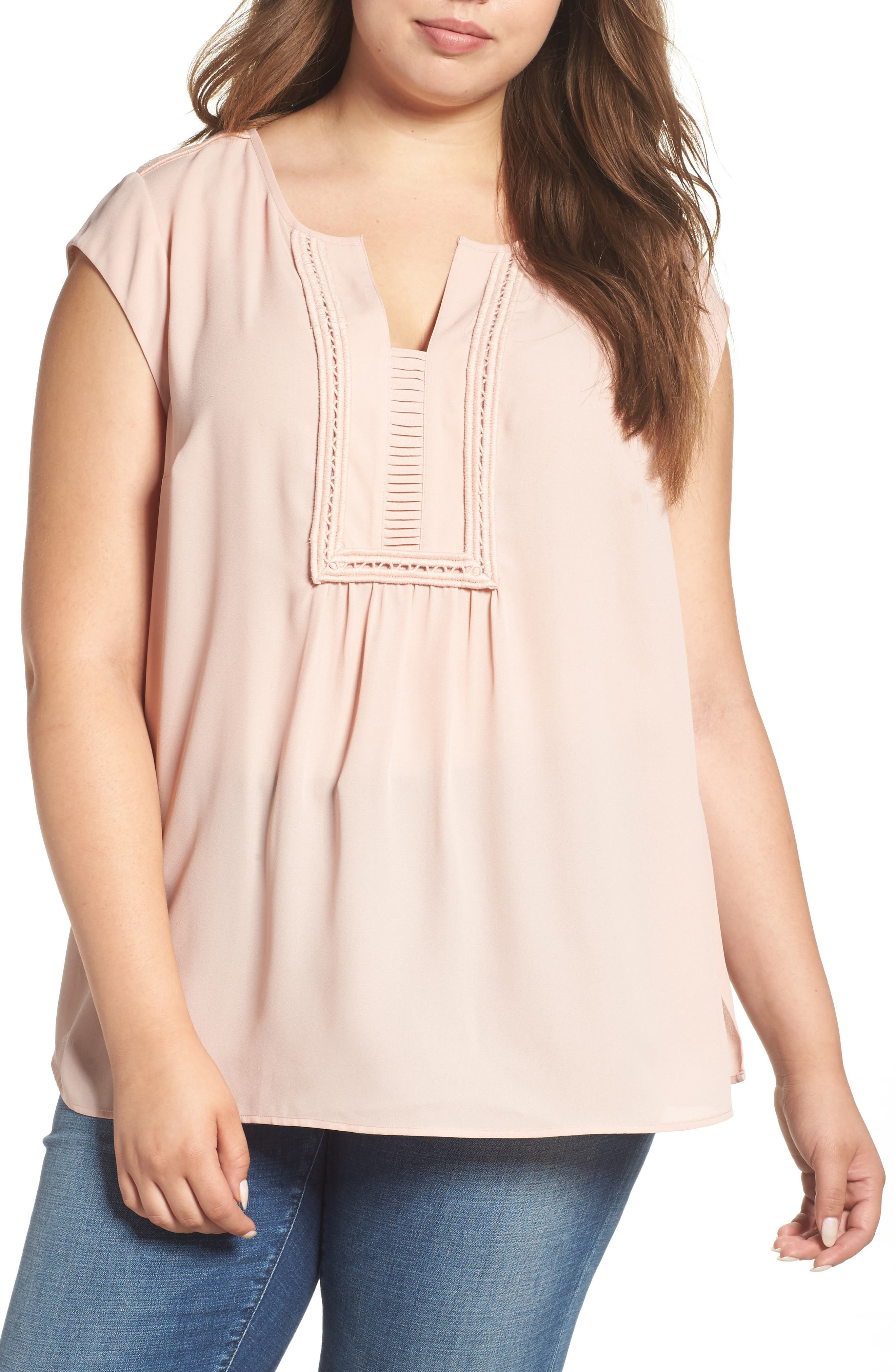 Daniel Rainn Embroidered Yoke Cap Sleeve Blouse (Plus Size)