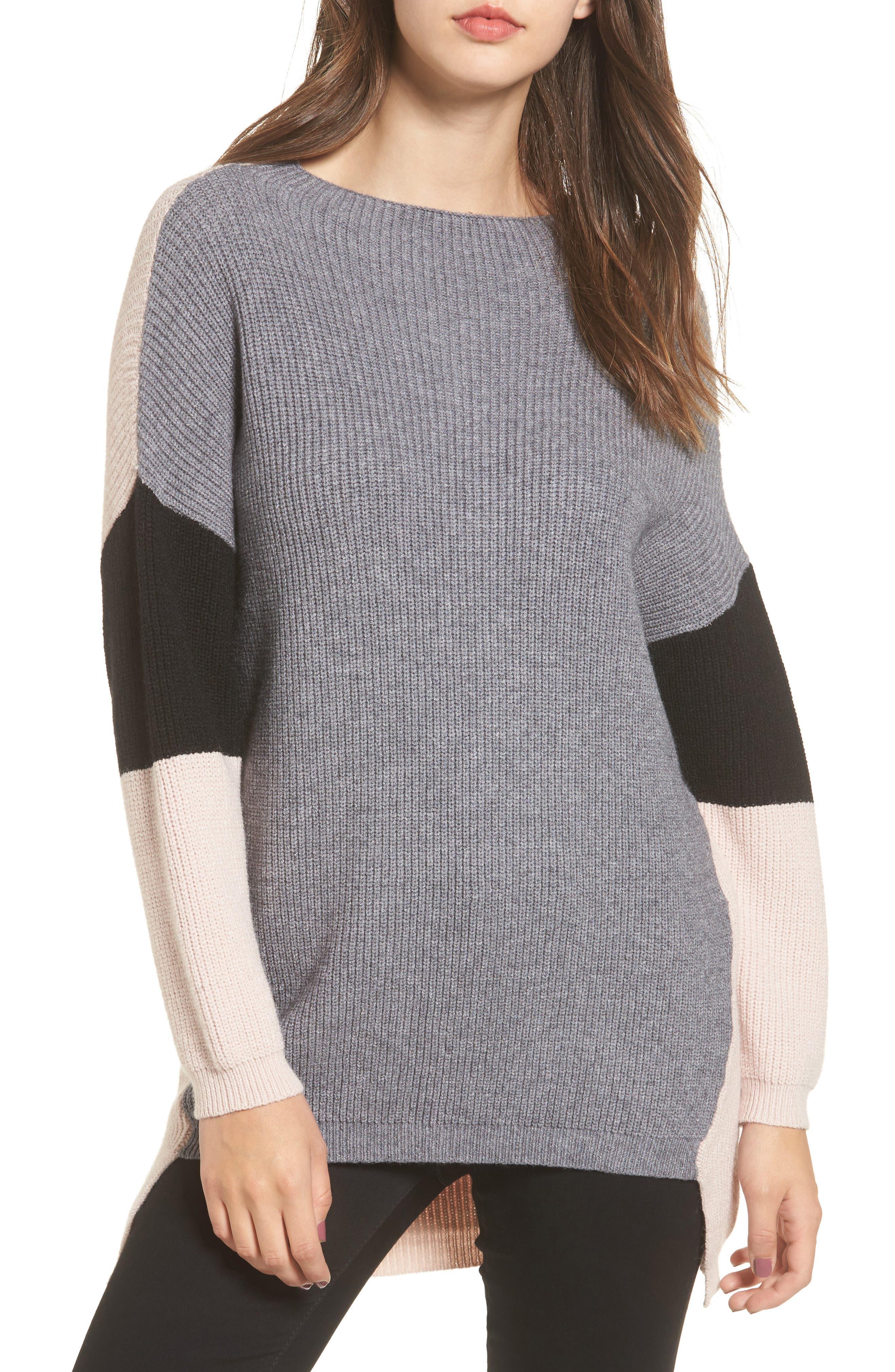 Colorblock Tunic Sweater,                         Main,                         color, Grey Blush Black