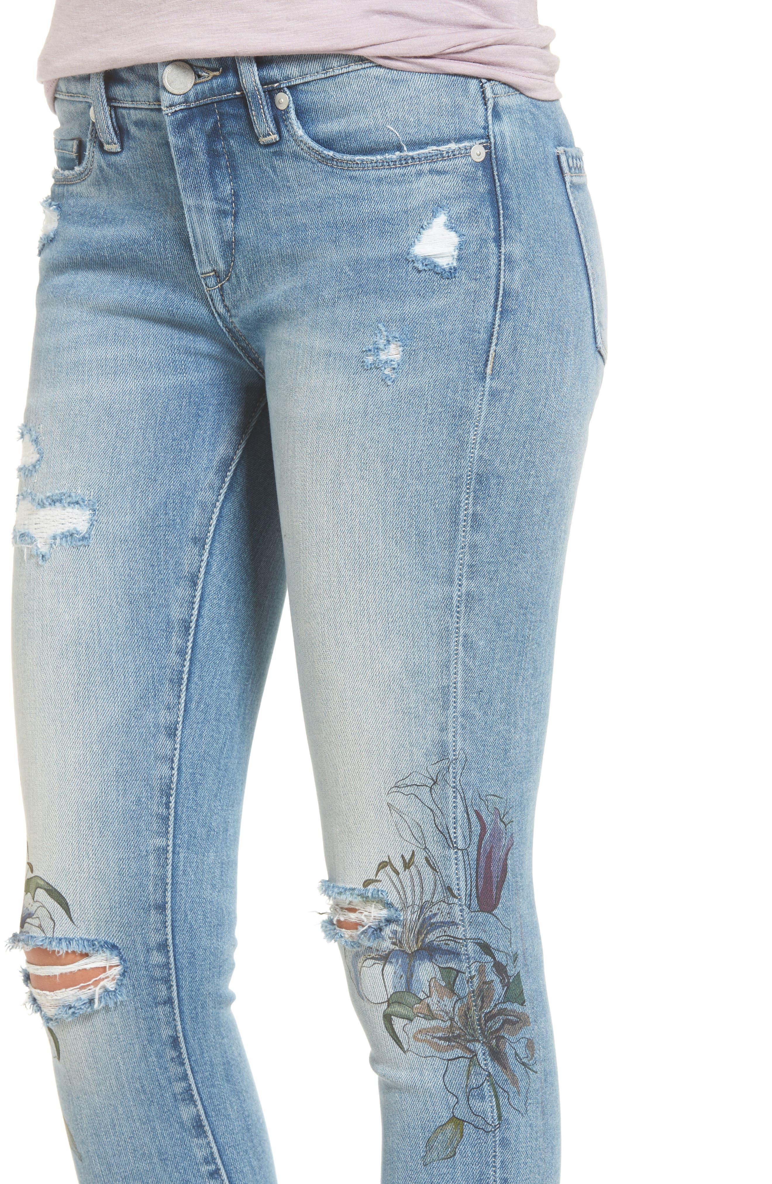 Alternate Image 5  - BLANKNYC Print Ripped Skinny Jeans (Goin Digital)