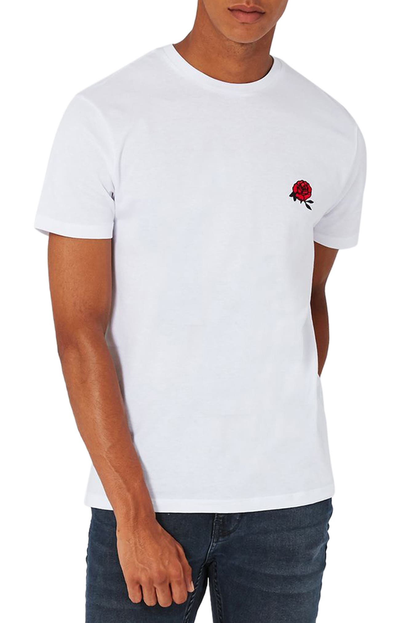 Rose Embroidered T-Shirt,                         Main,                         color, White Multi
