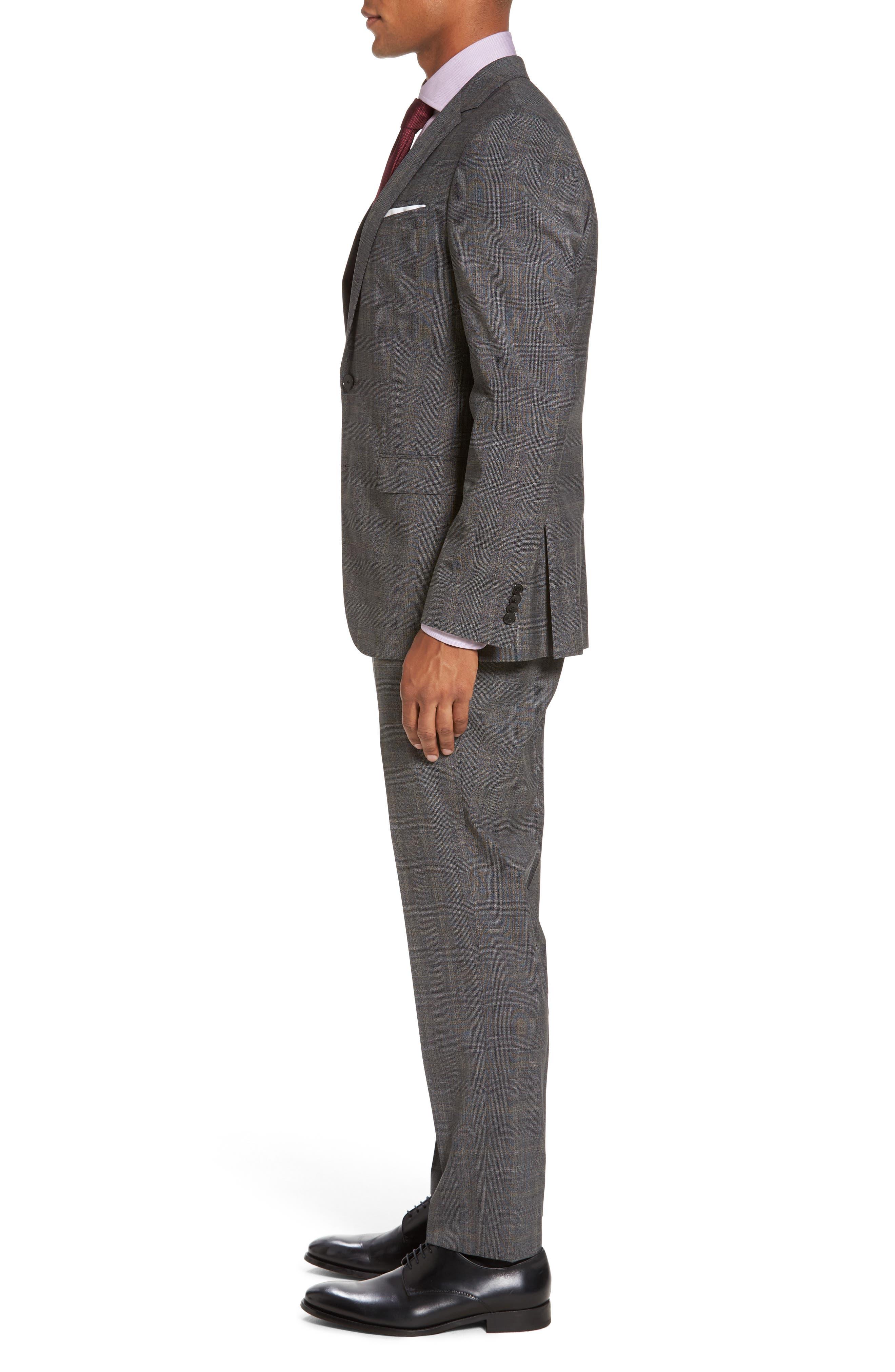 Novan/Ben Trim Fit Plaid Wool Suit,                             Alternate thumbnail 3, color,                             Black