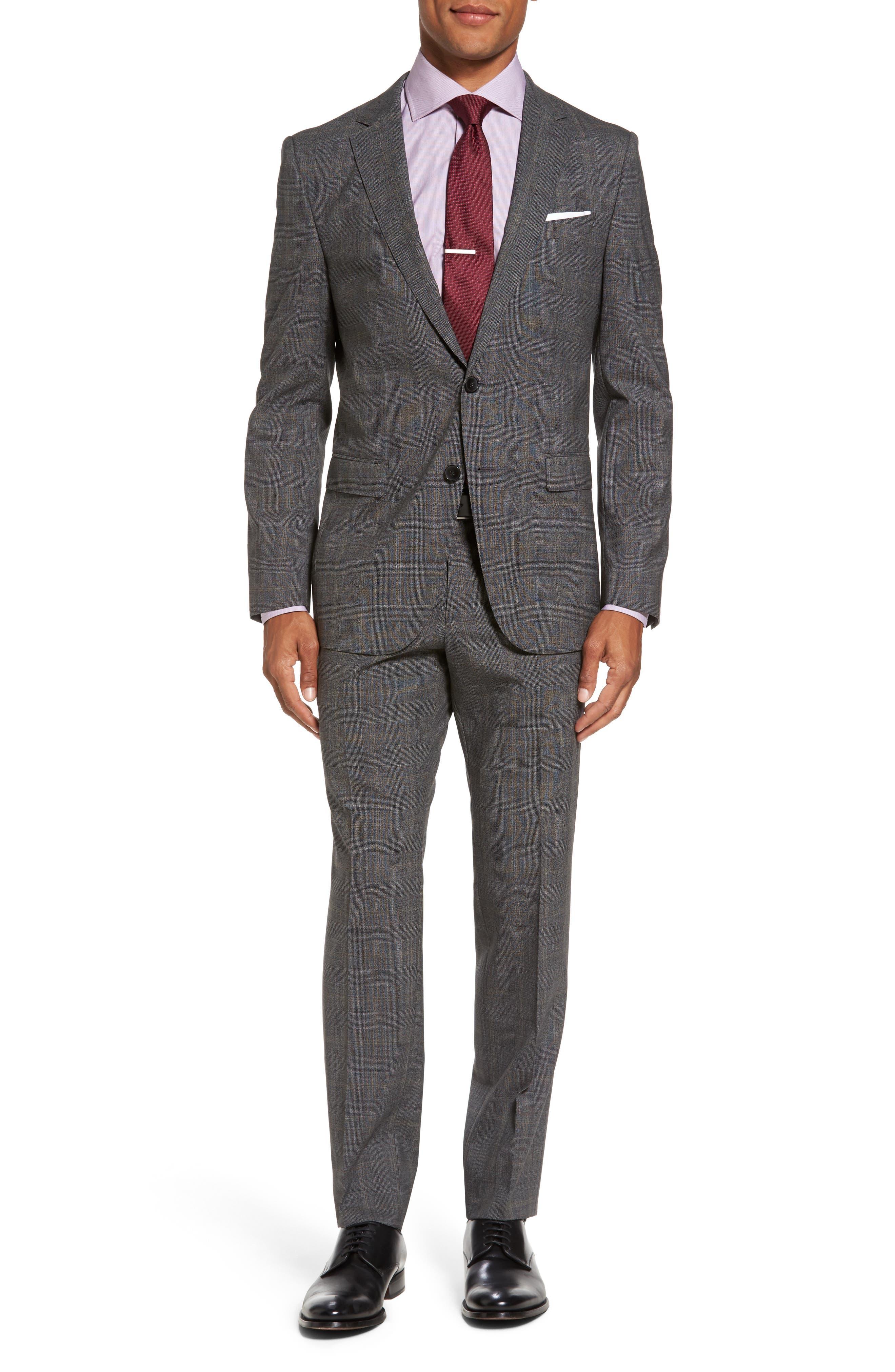 Novan/Ben Trim Fit Plaid Wool Suit,                         Main,                         color, Black