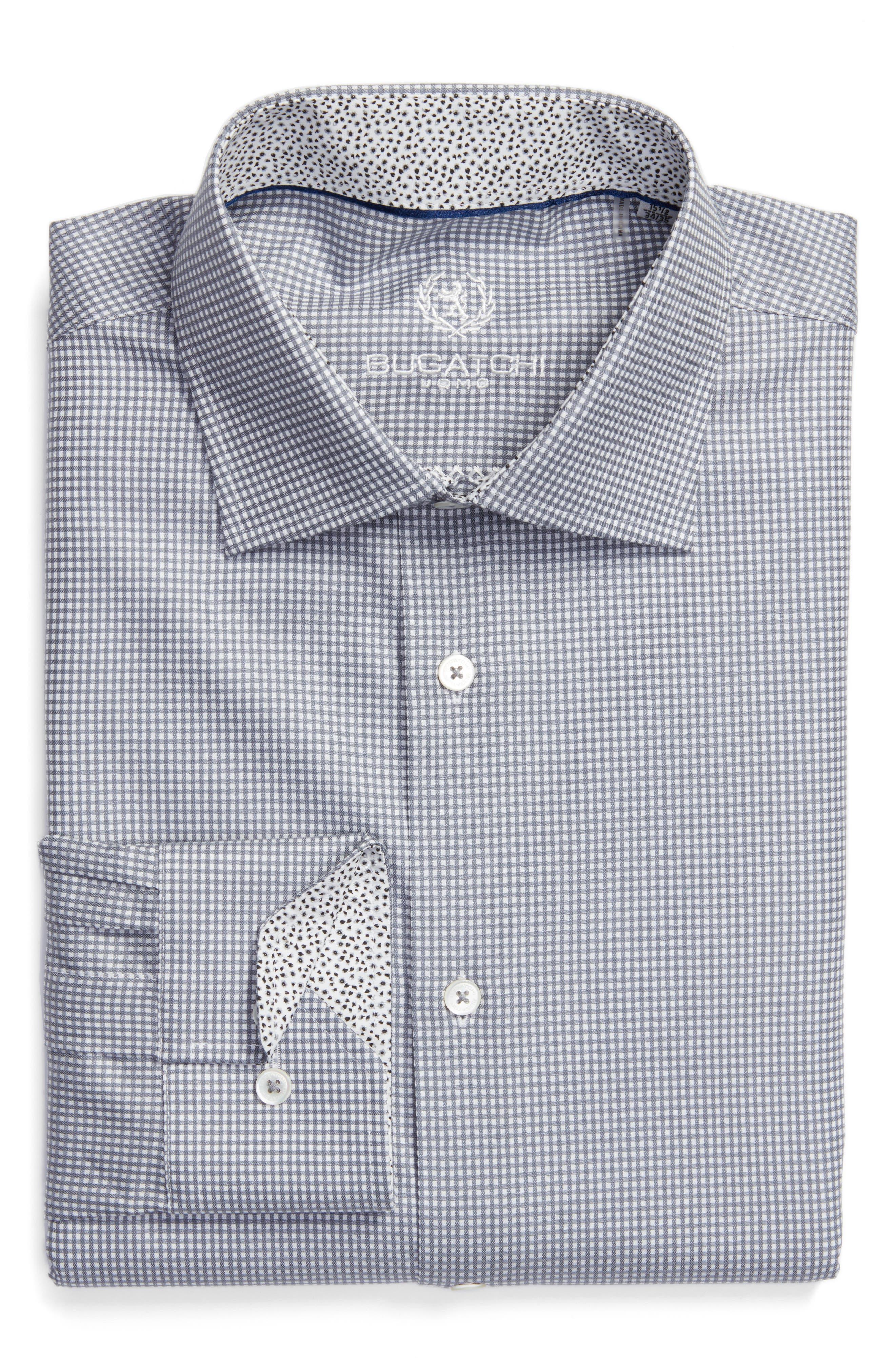 Bugatchi Trim Fit Check Pattern Dress Shirt