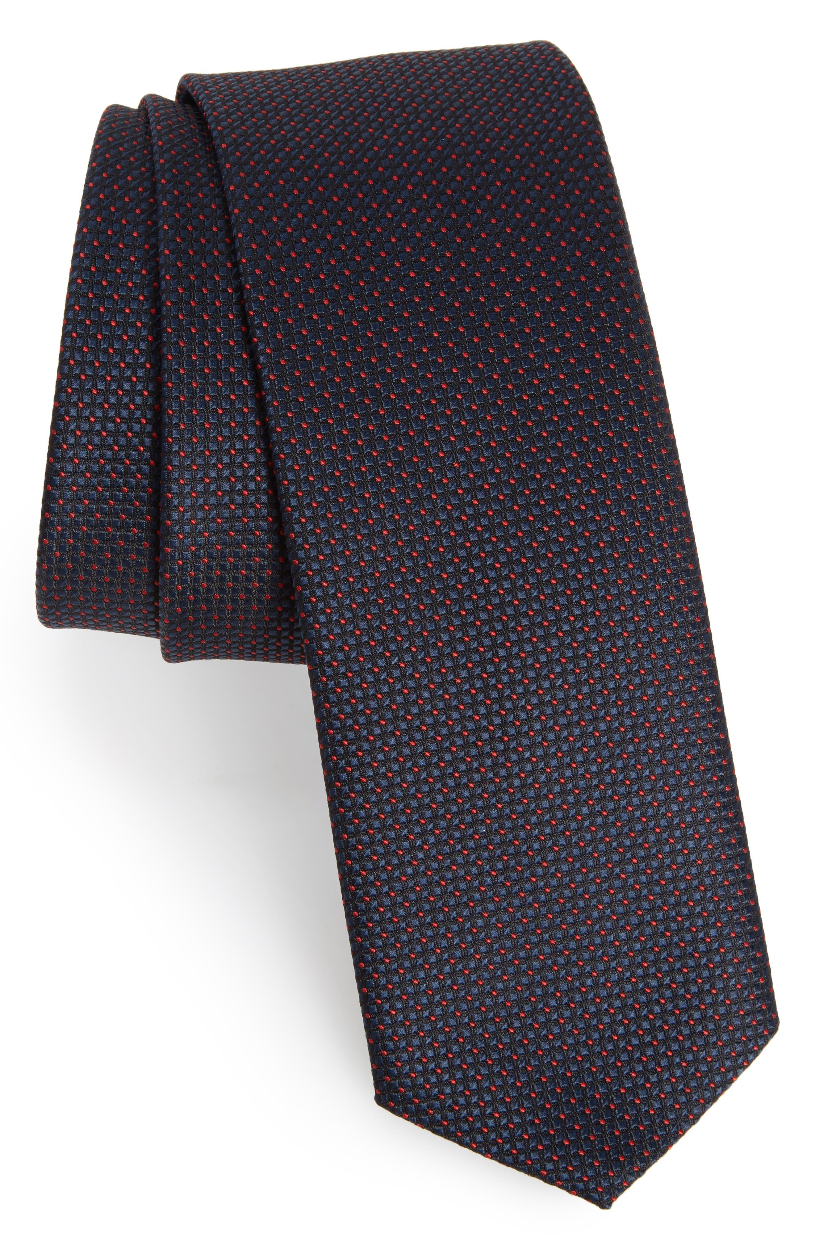 Main Image - BOSS Dot Silk Skinny Tie