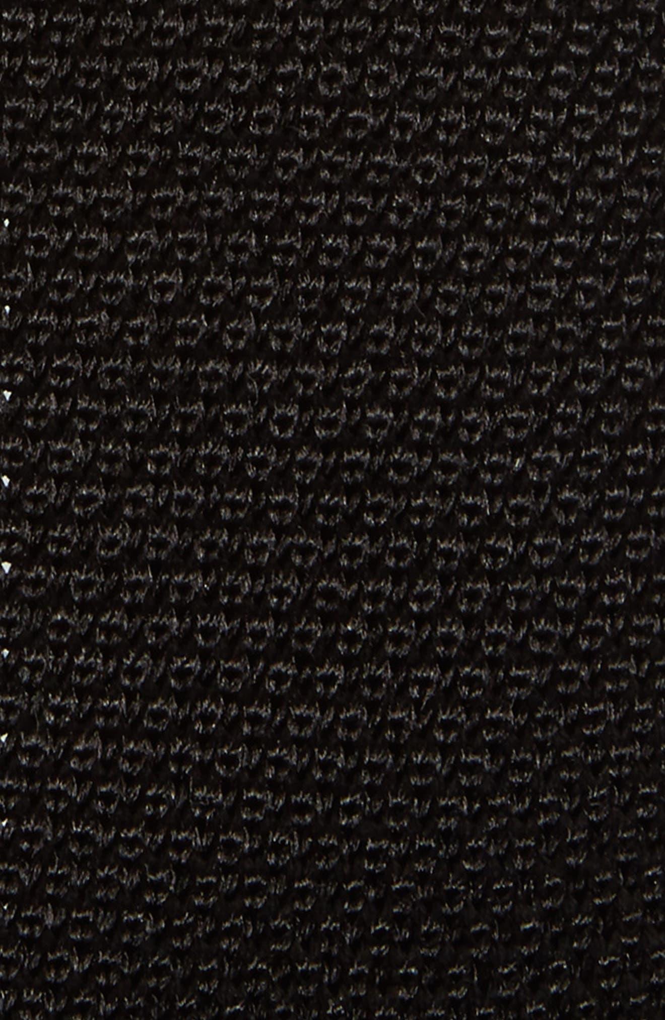 Solid Knit Silk Tie,                             Alternate thumbnail 2, color,                             Black