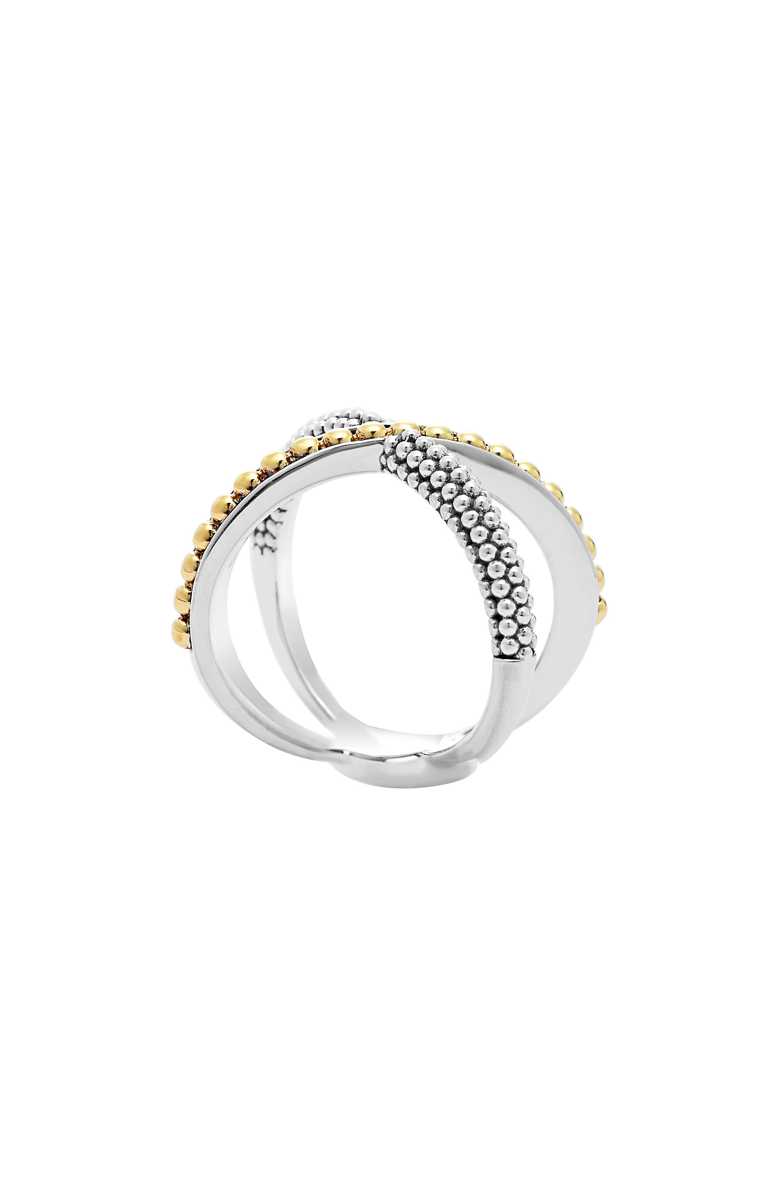 Lagos Sterling Silver & 18k Infinity Crossover Ring zblcO3pF