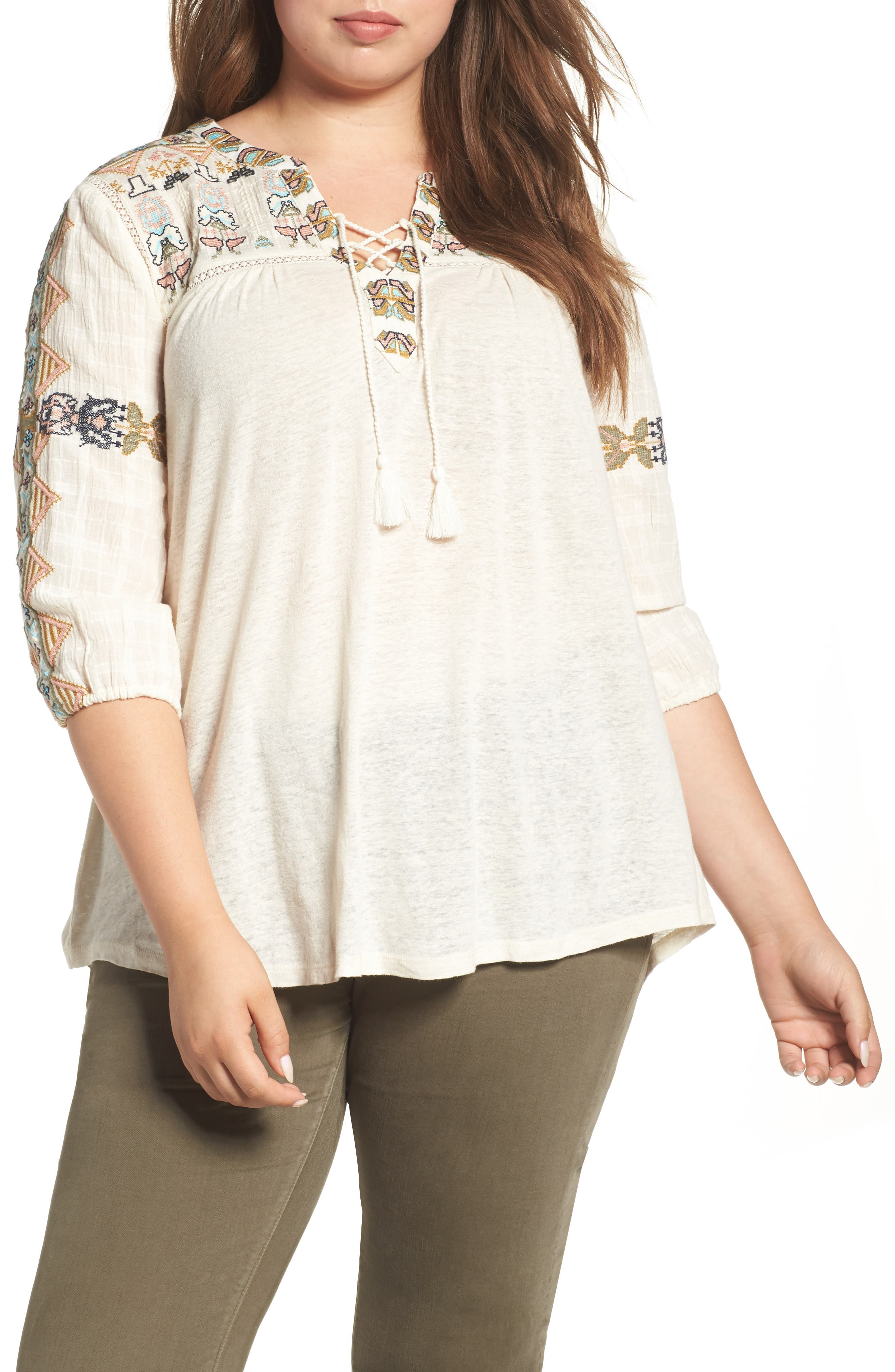 Lucky Brand Embroidered Lace-Up Top (Plus Size)