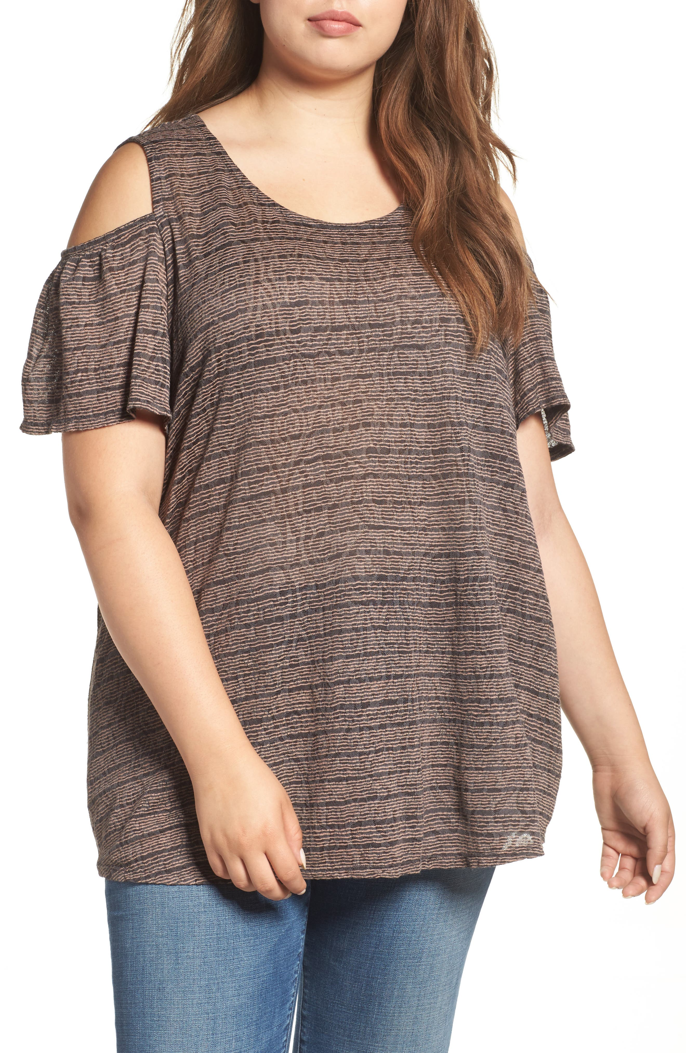 Main Image - Lucky Brand Stripe Cold Shoulder Top (Plus Size)