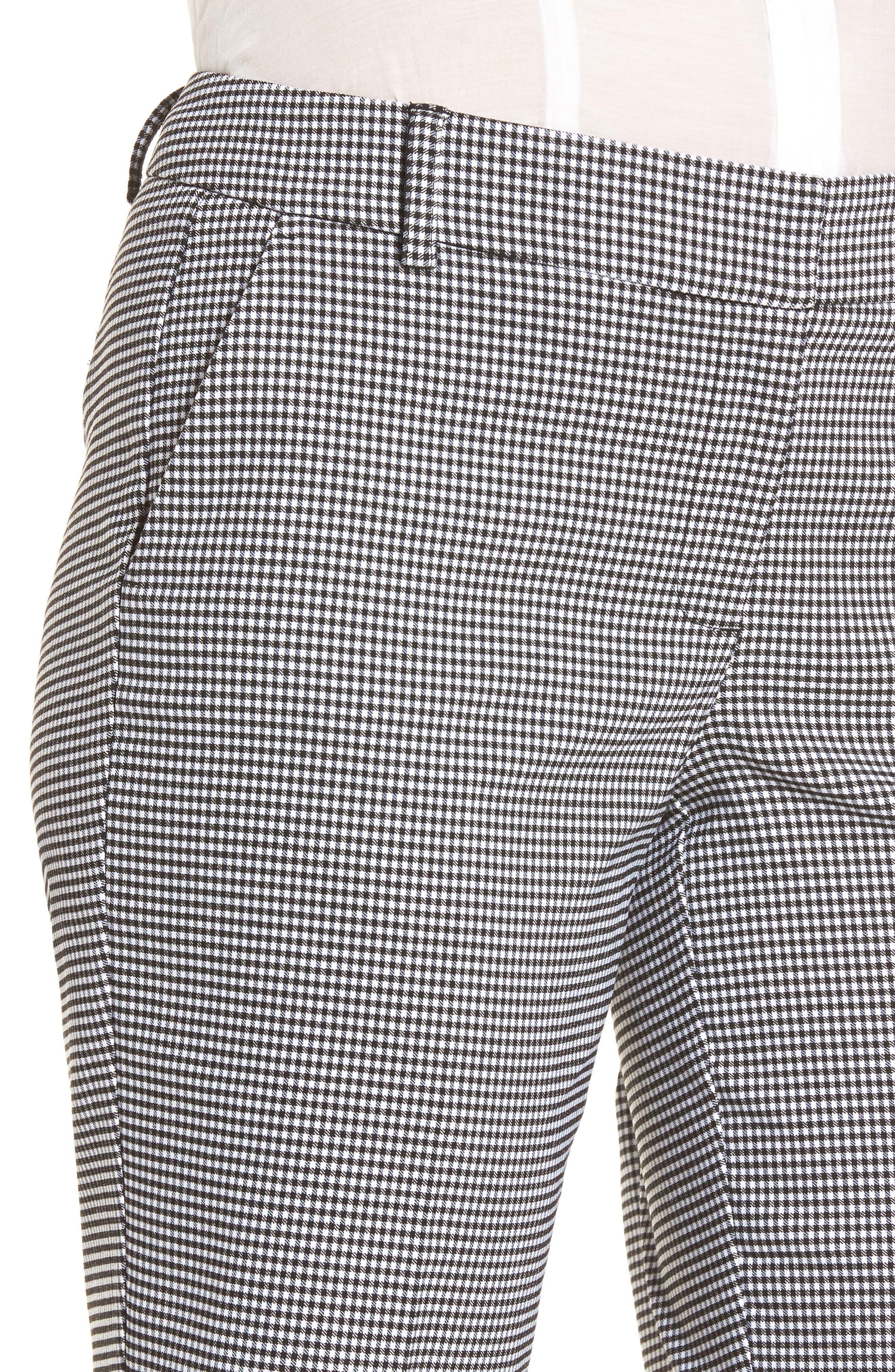 Stretch Bermuda Shorts,                             Alternate thumbnail 4, color,                             Black- White Gingham