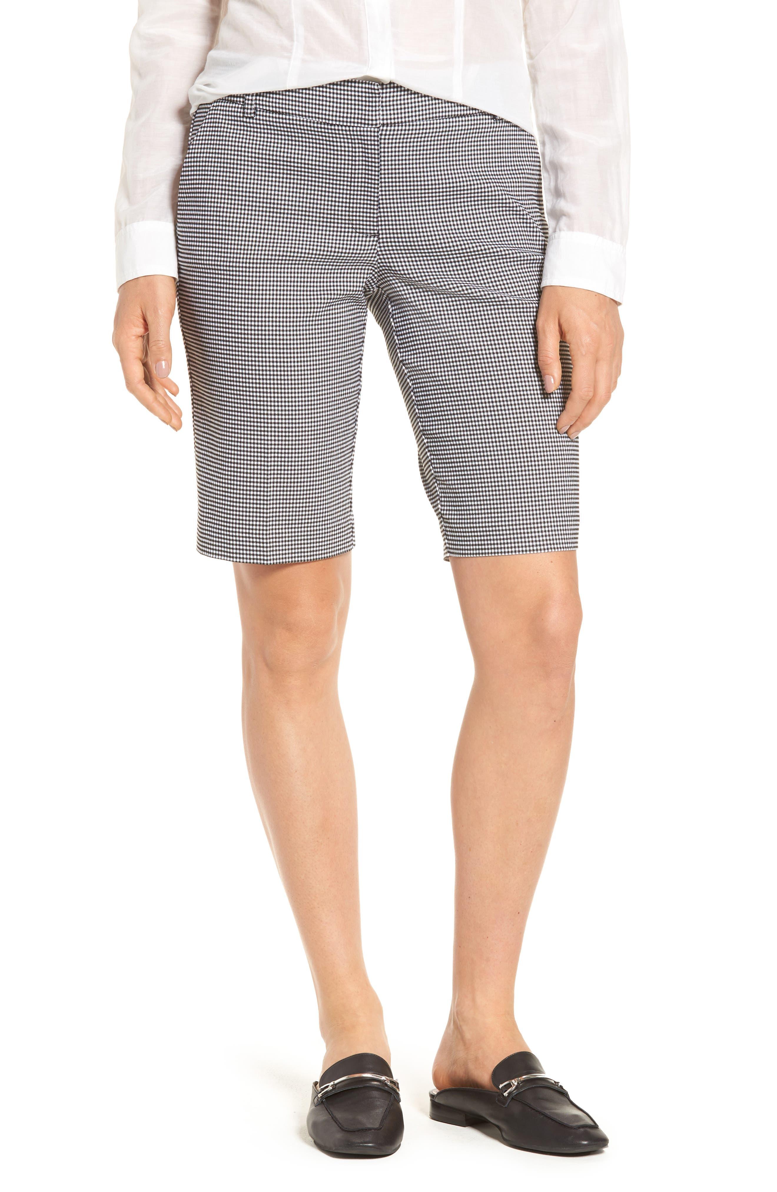 Stretch Bermuda Shorts,                         Main,                         color, Black- White Gingham