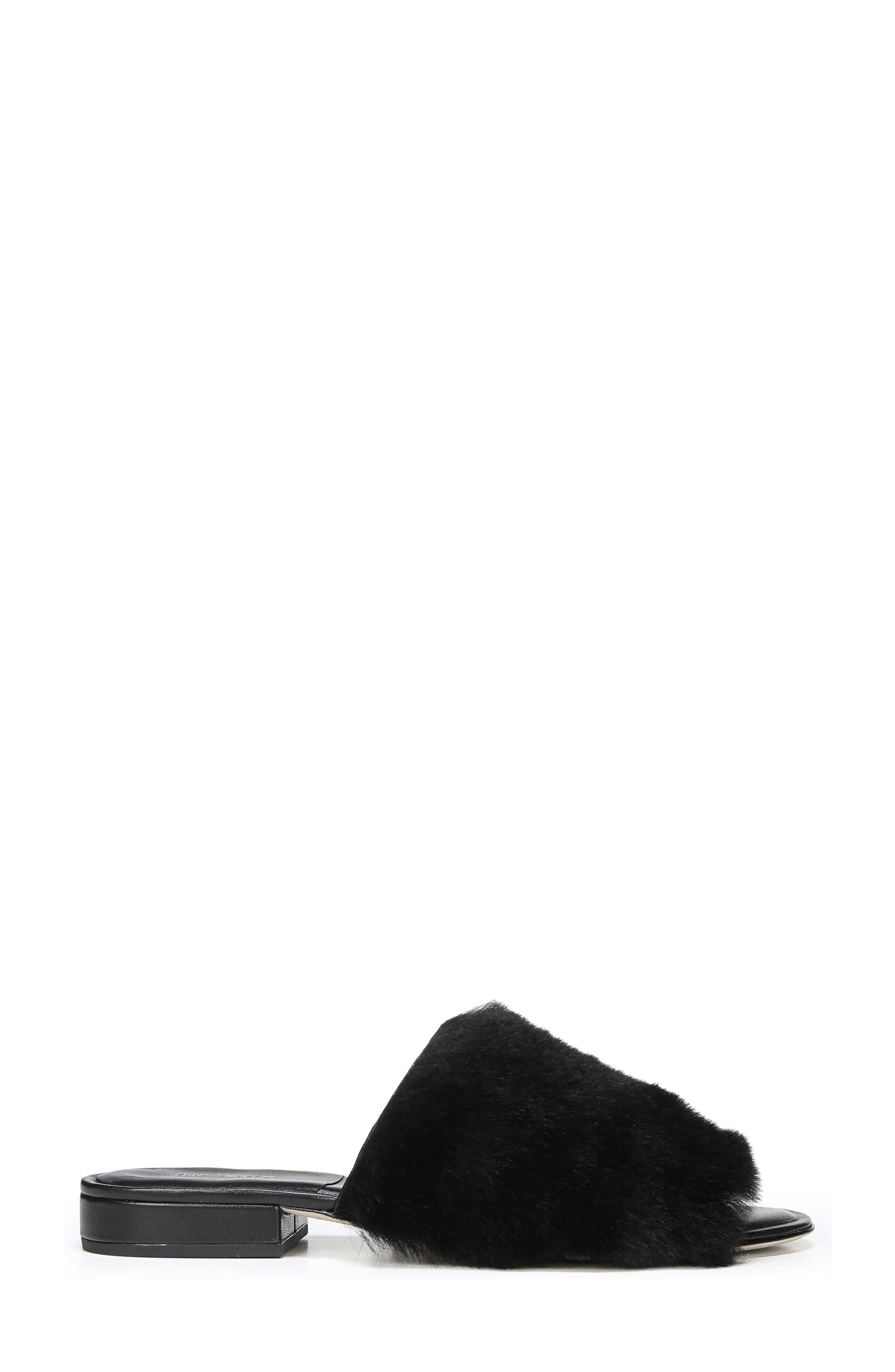 Santi Genuine Shearling Slide Sandal,                             Alternate thumbnail 3, color,                             Black