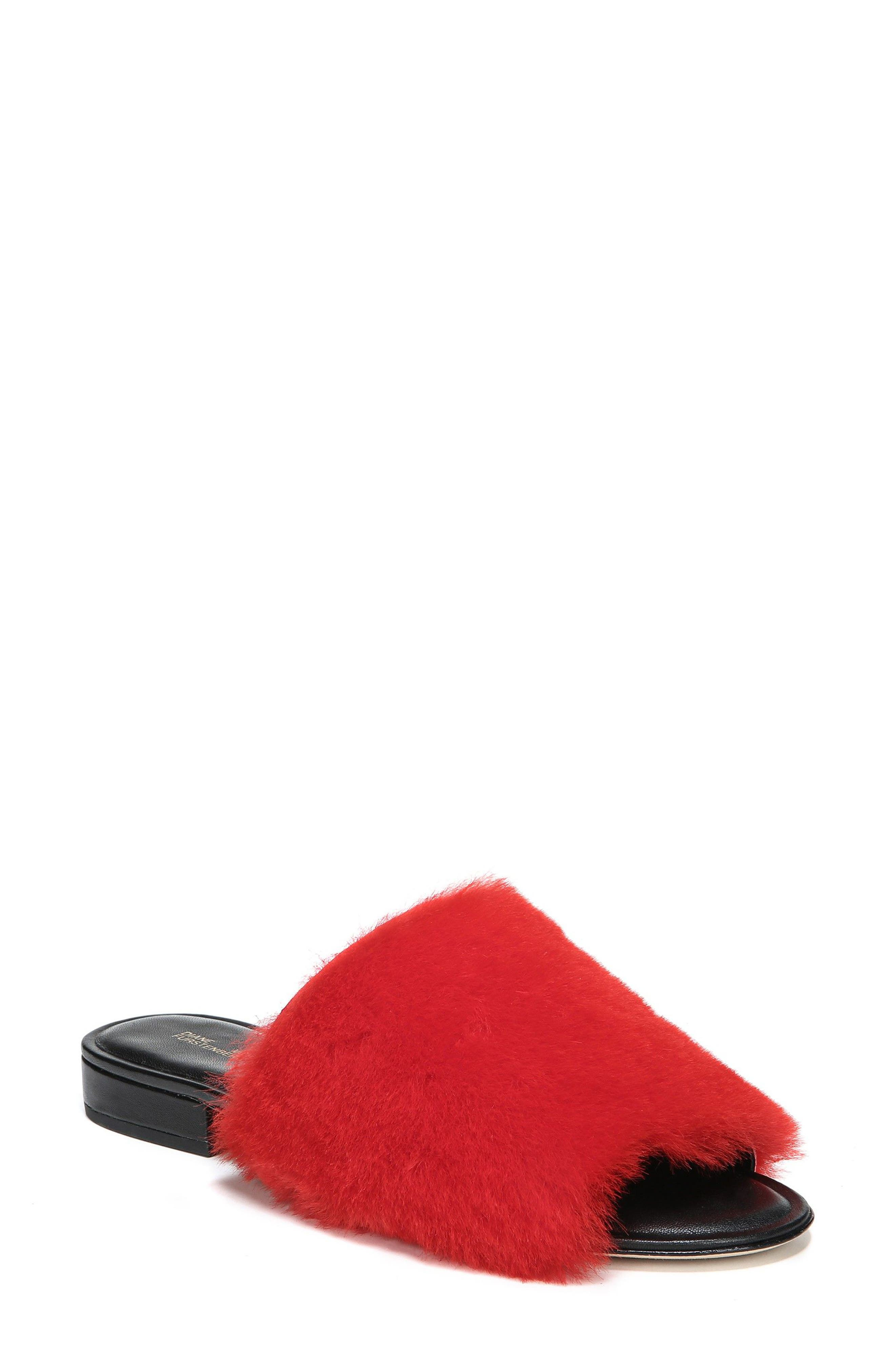 Santi Genuine Shearling Slide Sandal,                             Main thumbnail 1, color,                             Red