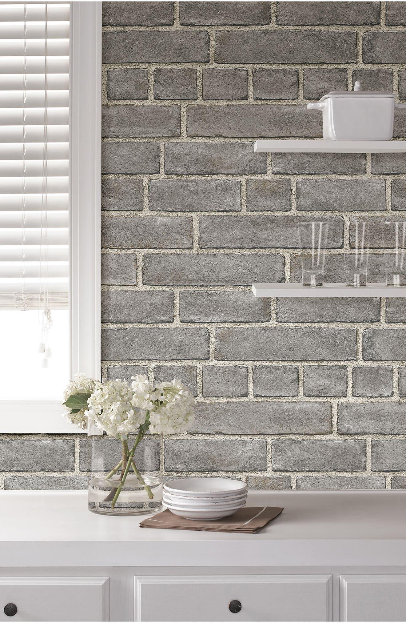 Grey Brick Fade Peel & Stick Vinyl Wallpaper,                             Alternate thumbnail 2, color,                             Grey