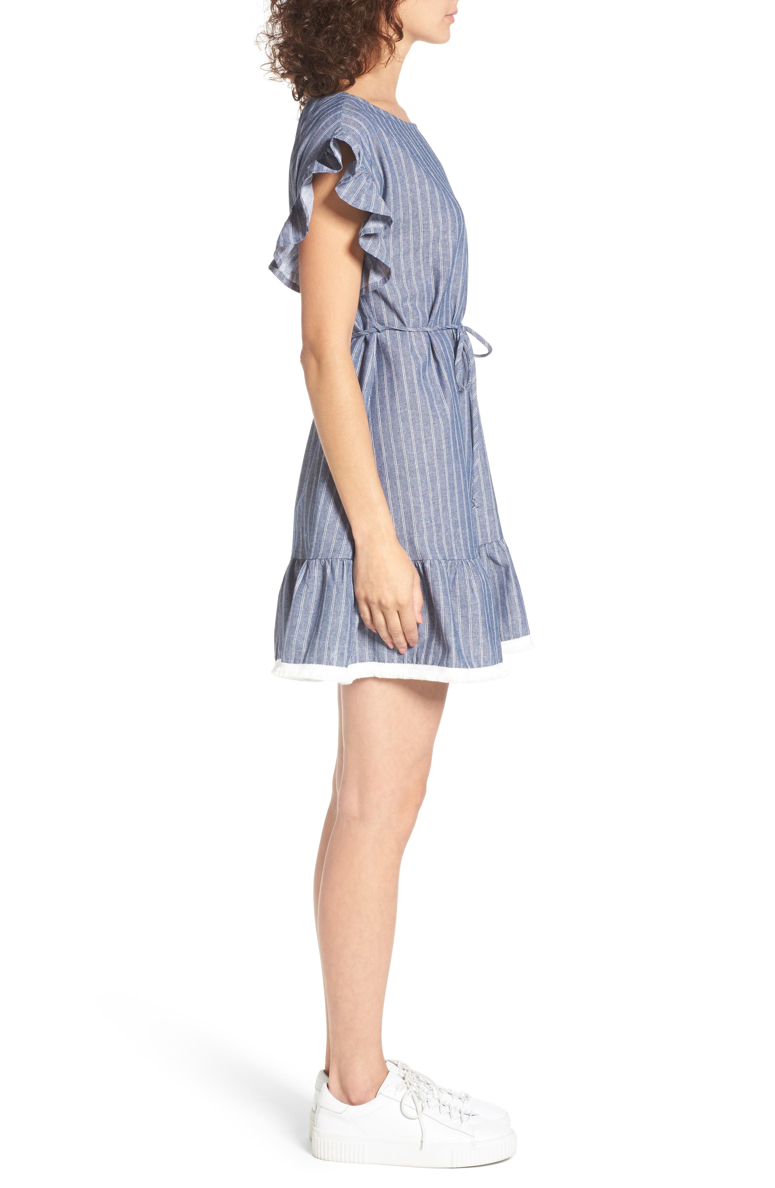 Alternate Image 3  - BP. Ruffle Trim Stripe Cotton Shift Dress