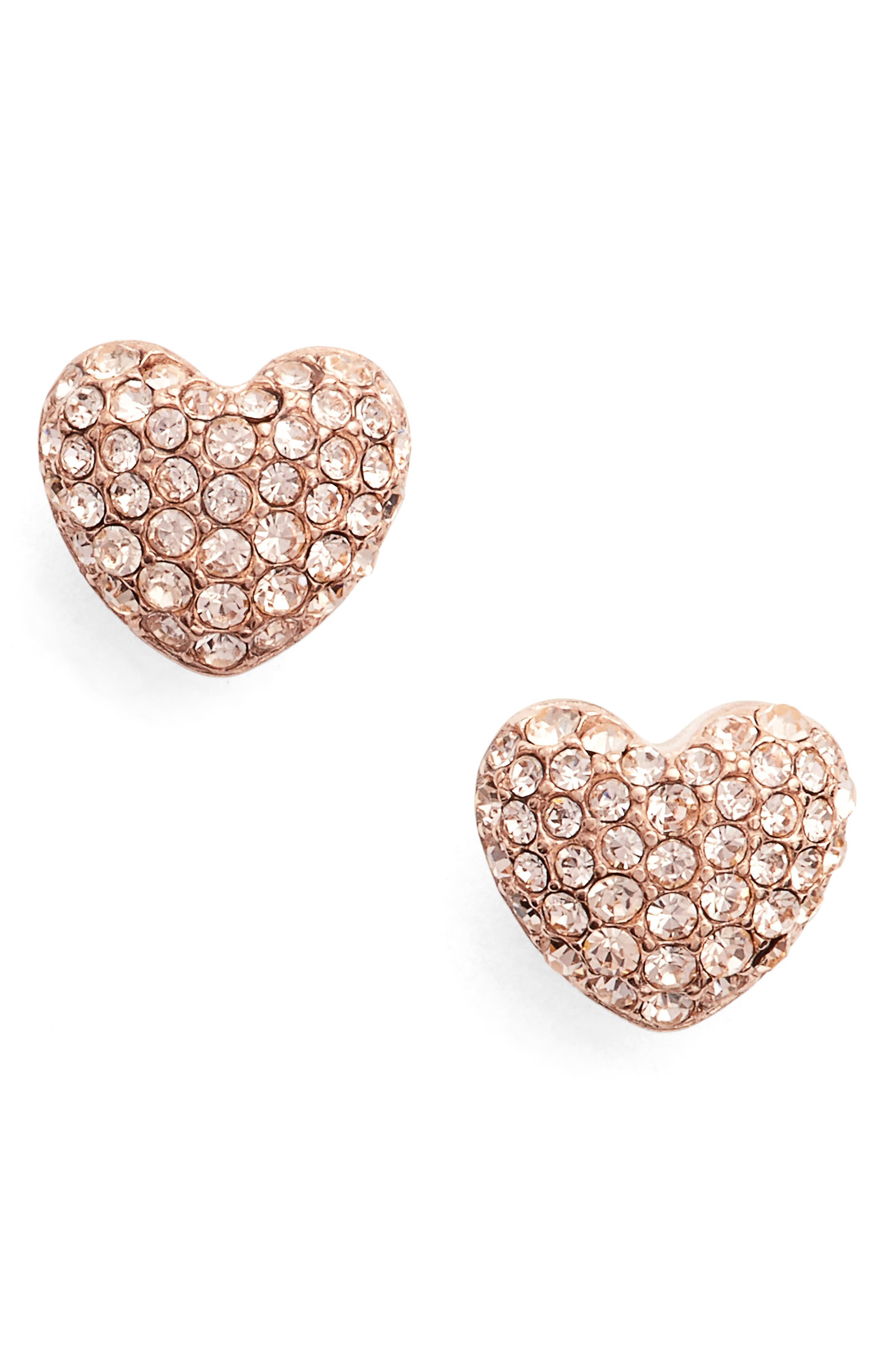 Heart Stud Earrings,                         Main,                         color, Rose Gold