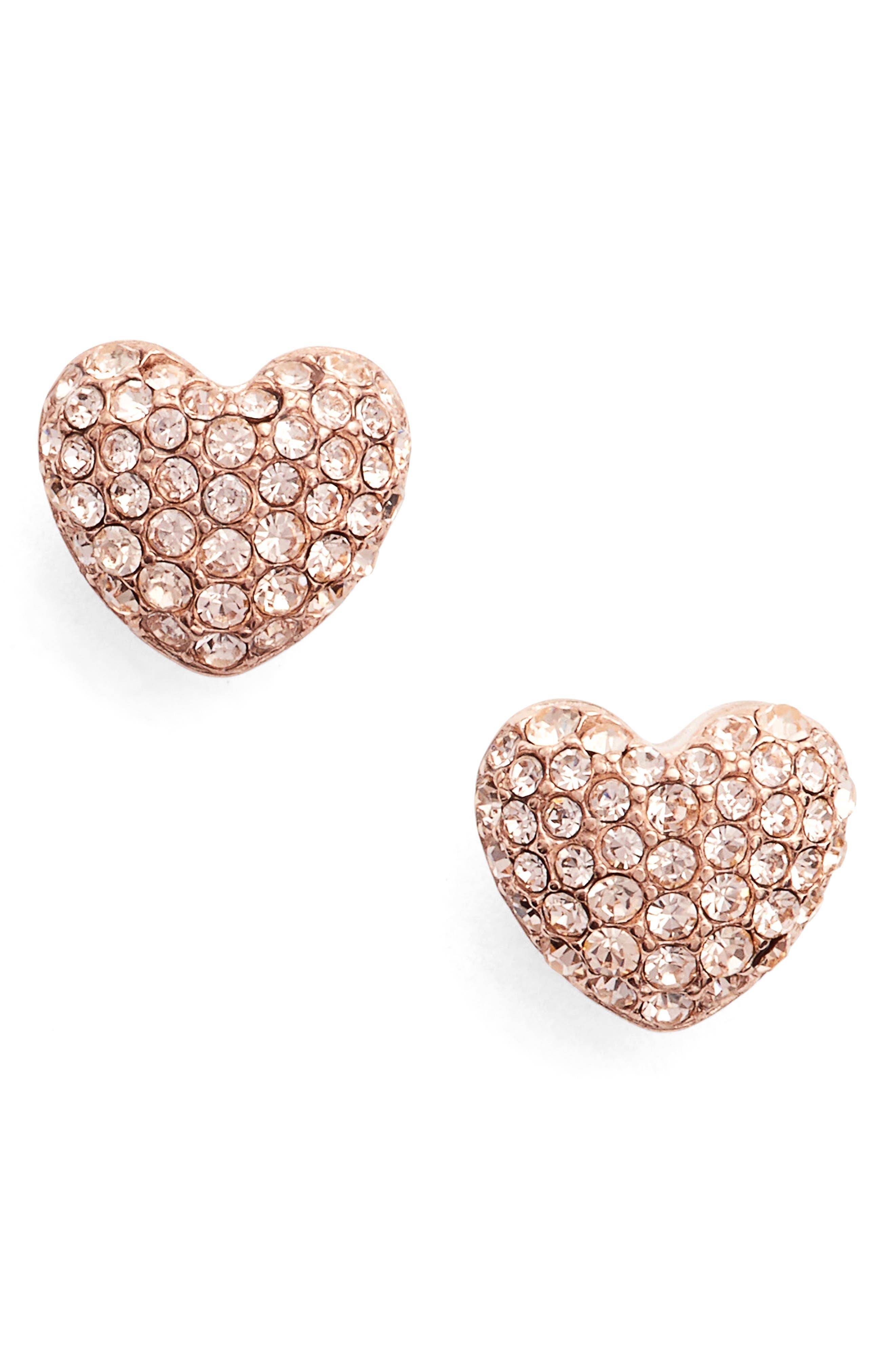 Heart Stud Earrings,                         Main,                         color, Rose Gold