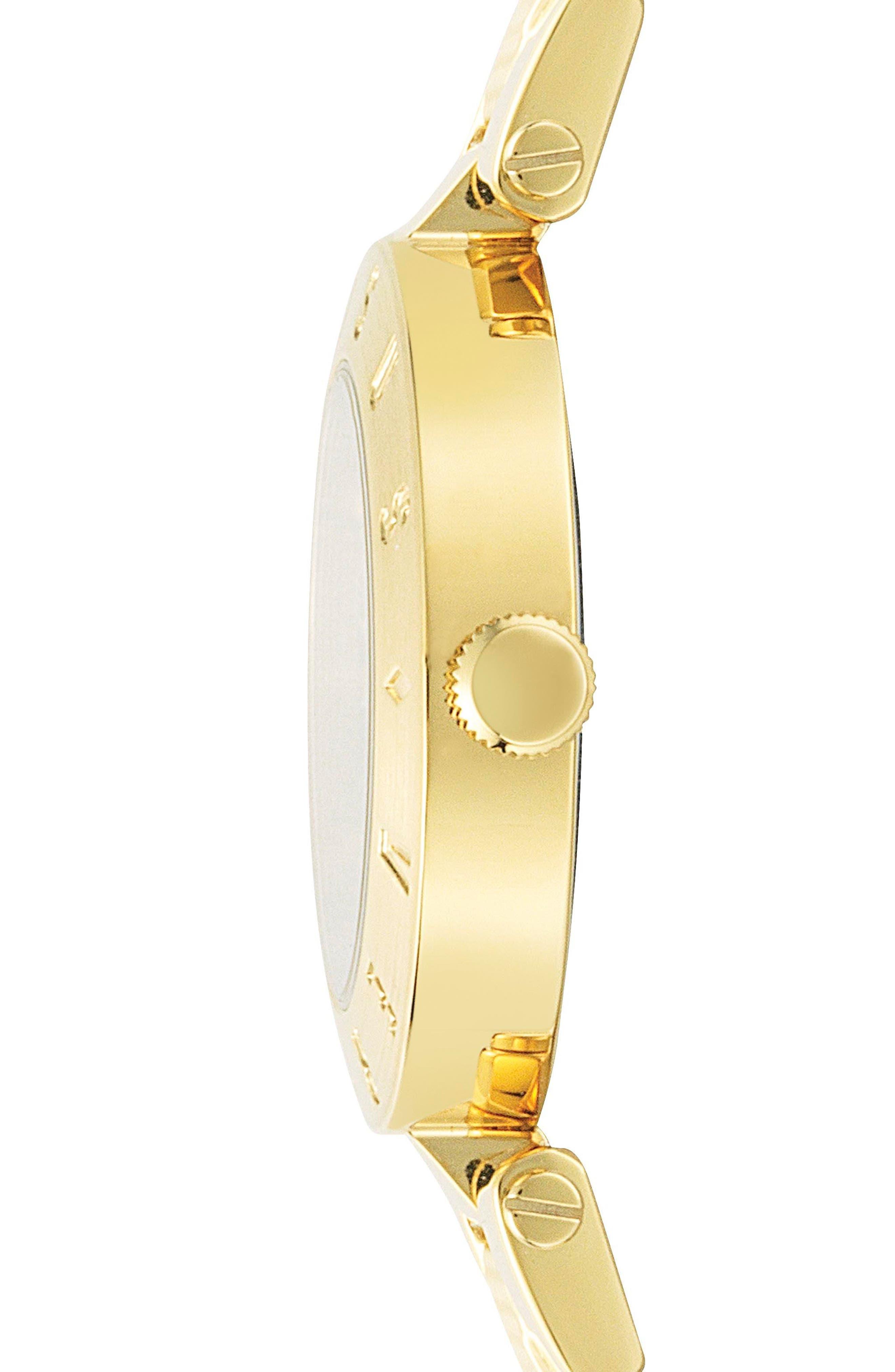 Versus by Versace New Logo Bracelet Watch, 34mm,                             Alternate thumbnail 2, color,                             Gold/ Blue/ Gold