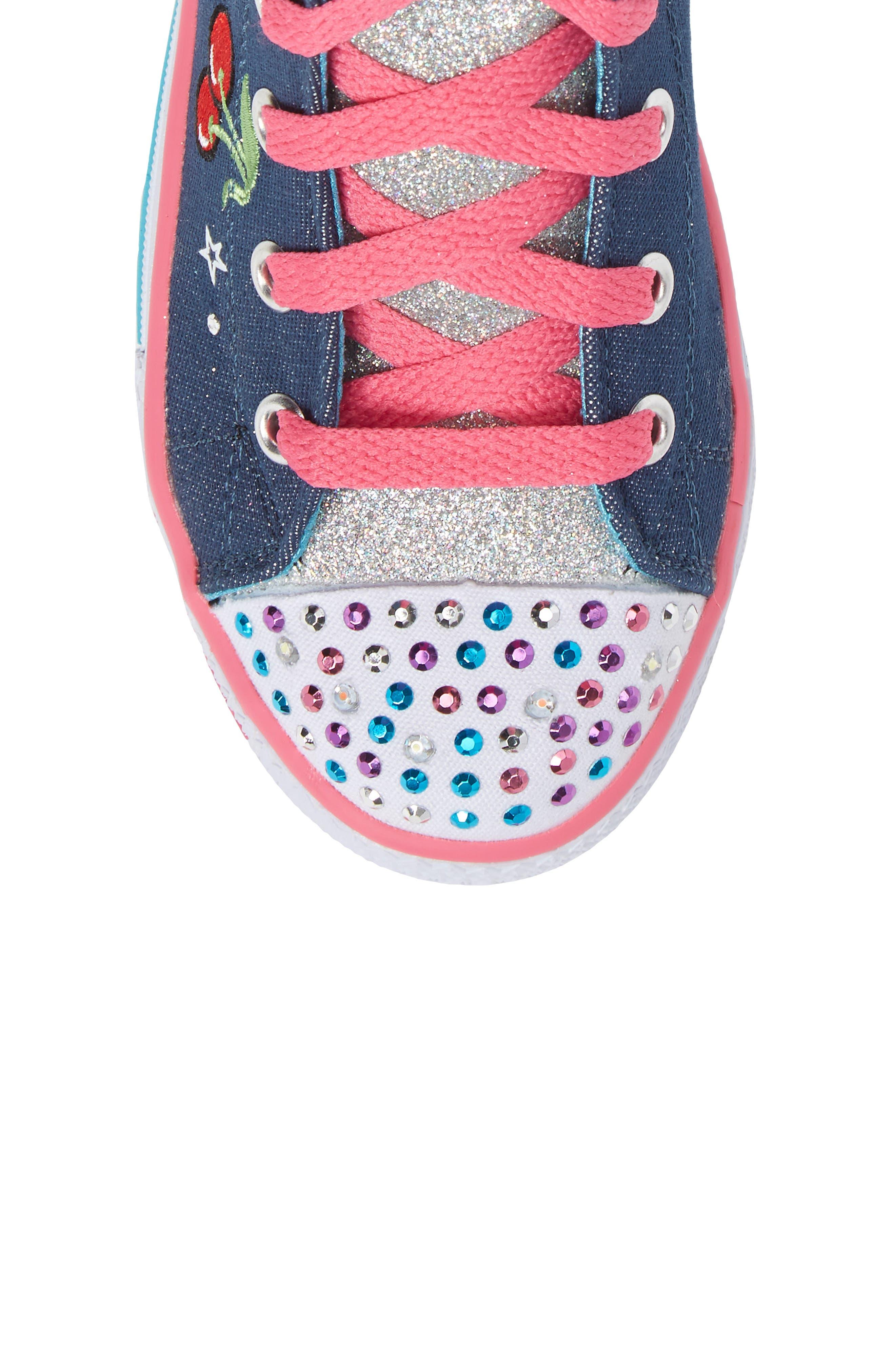 Twinkle Toes Shuffles Ultra High Top Sneaker,                             Alternate thumbnail 5, color,                             Denim/ Multi