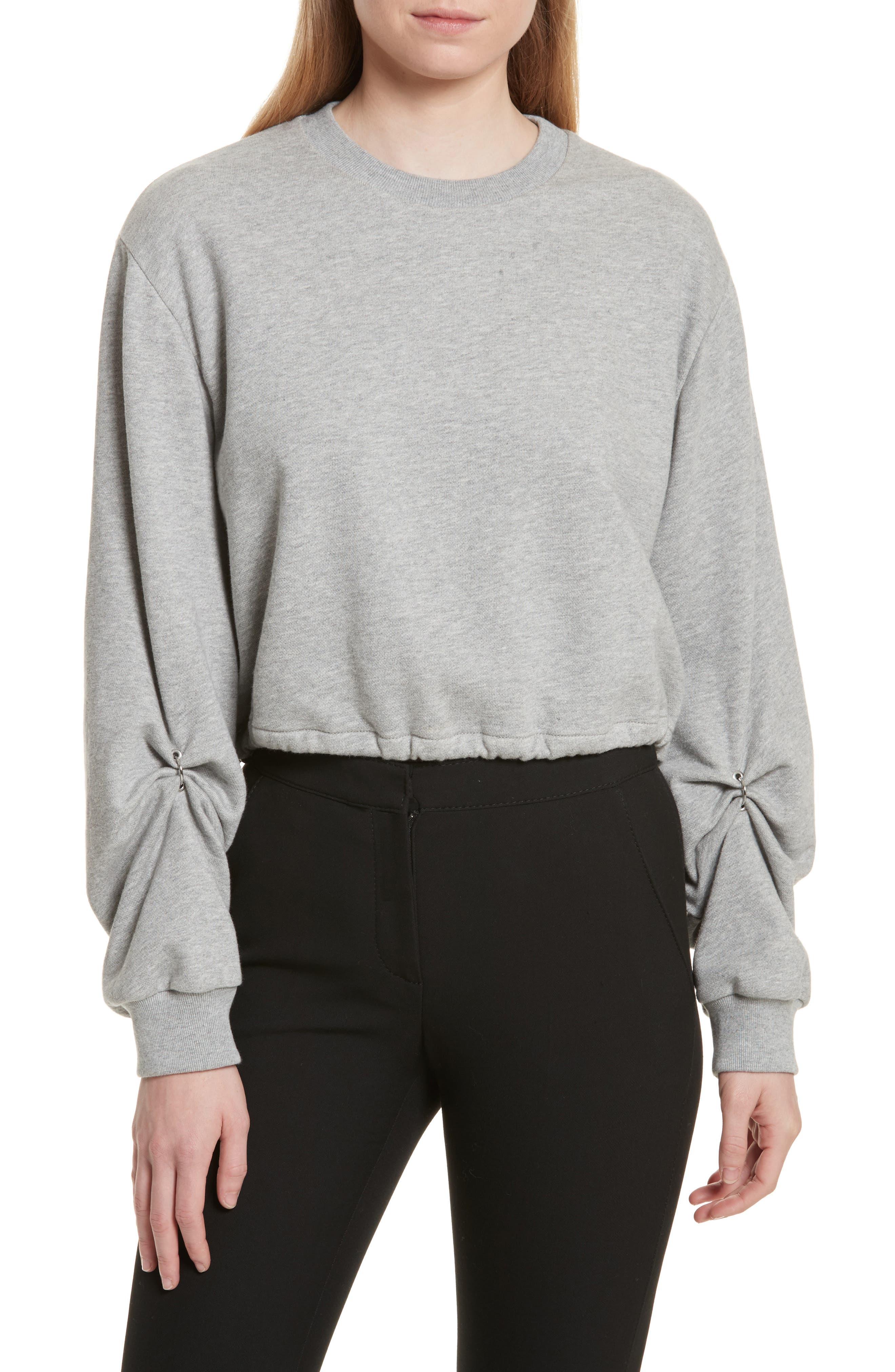 Pierced Sleeve Sweatshirt,                         Main,                         color, Grey