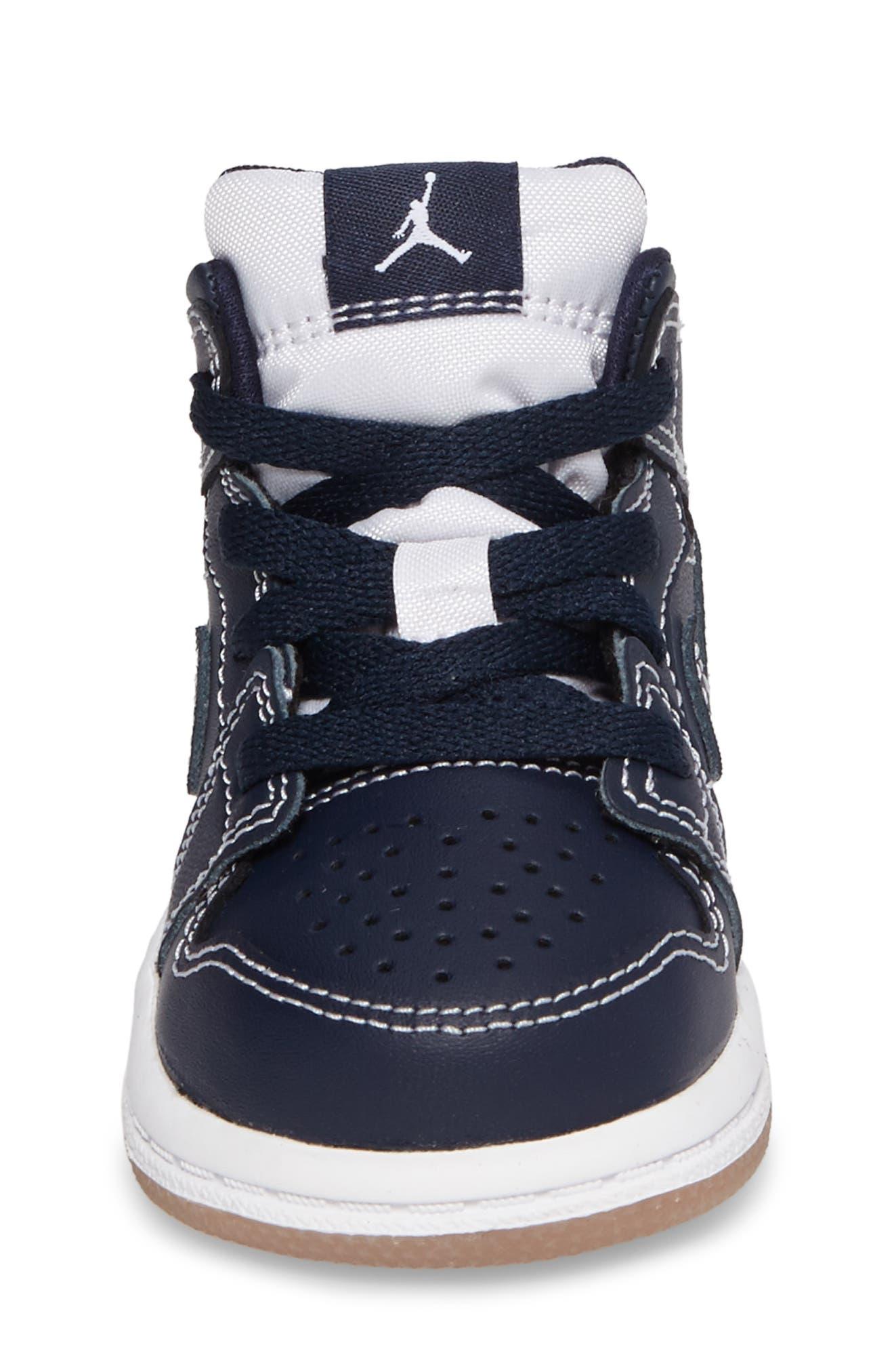 Alternate Image 4  - Nike 'Air Jordan 1' Mid Sneaker (Baby, Walker & Toddler)