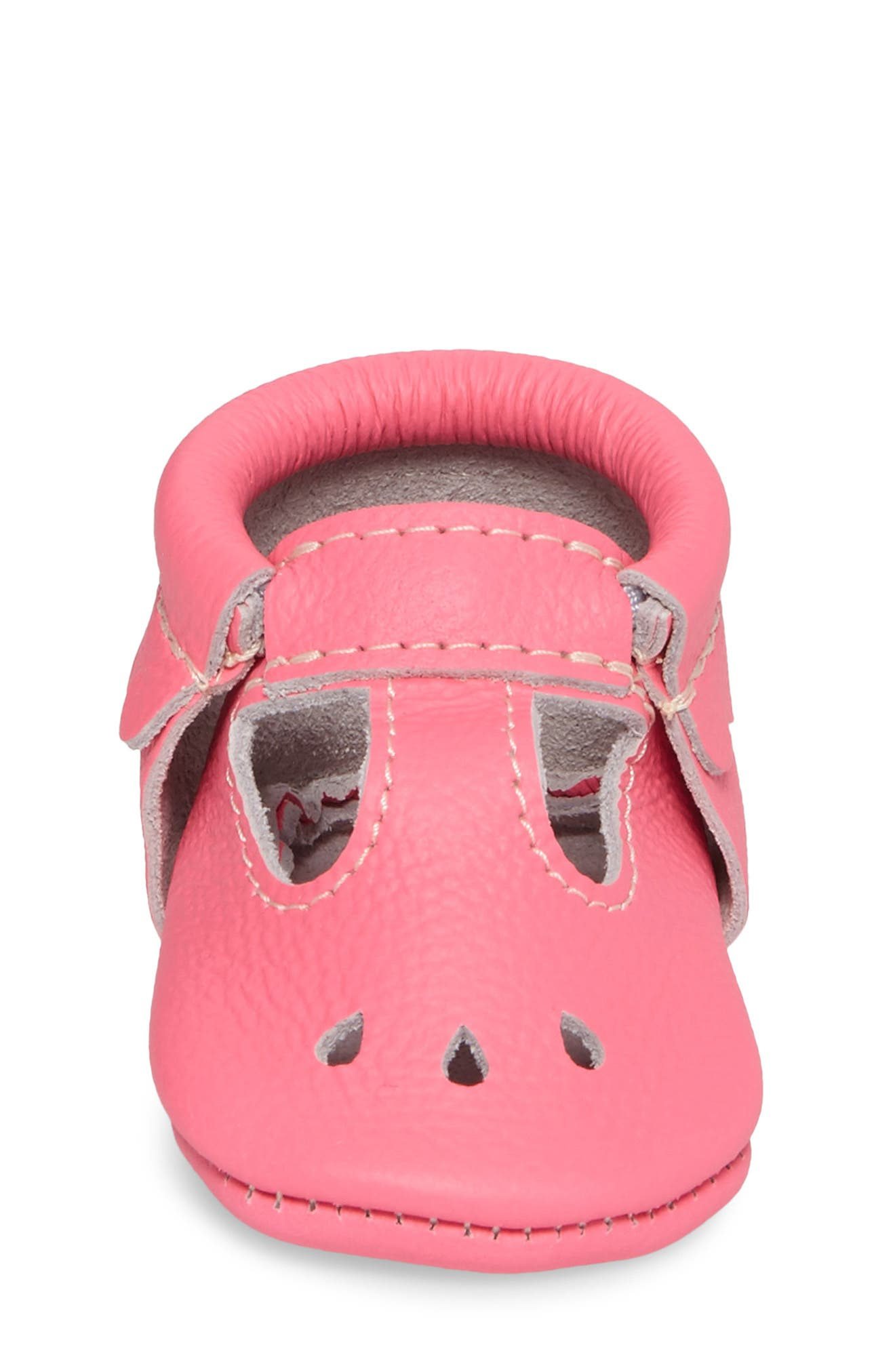 Perforated Mary Jane Moccasin,                             Alternate thumbnail 4, color,                             Neon Pink Leather