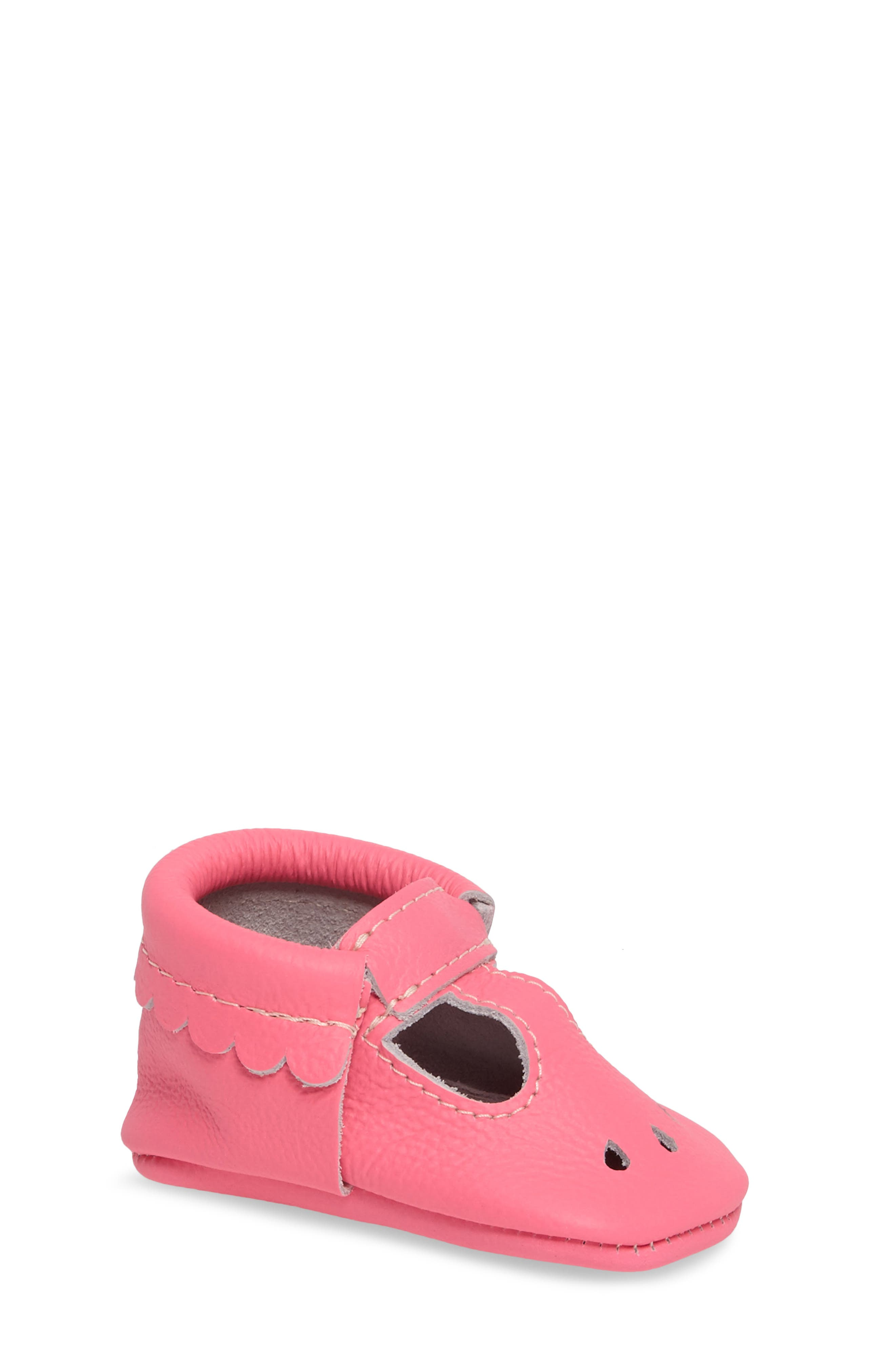 Perforated Mary Jane Moccasin,                         Main,                         color, Neon Pink Leather