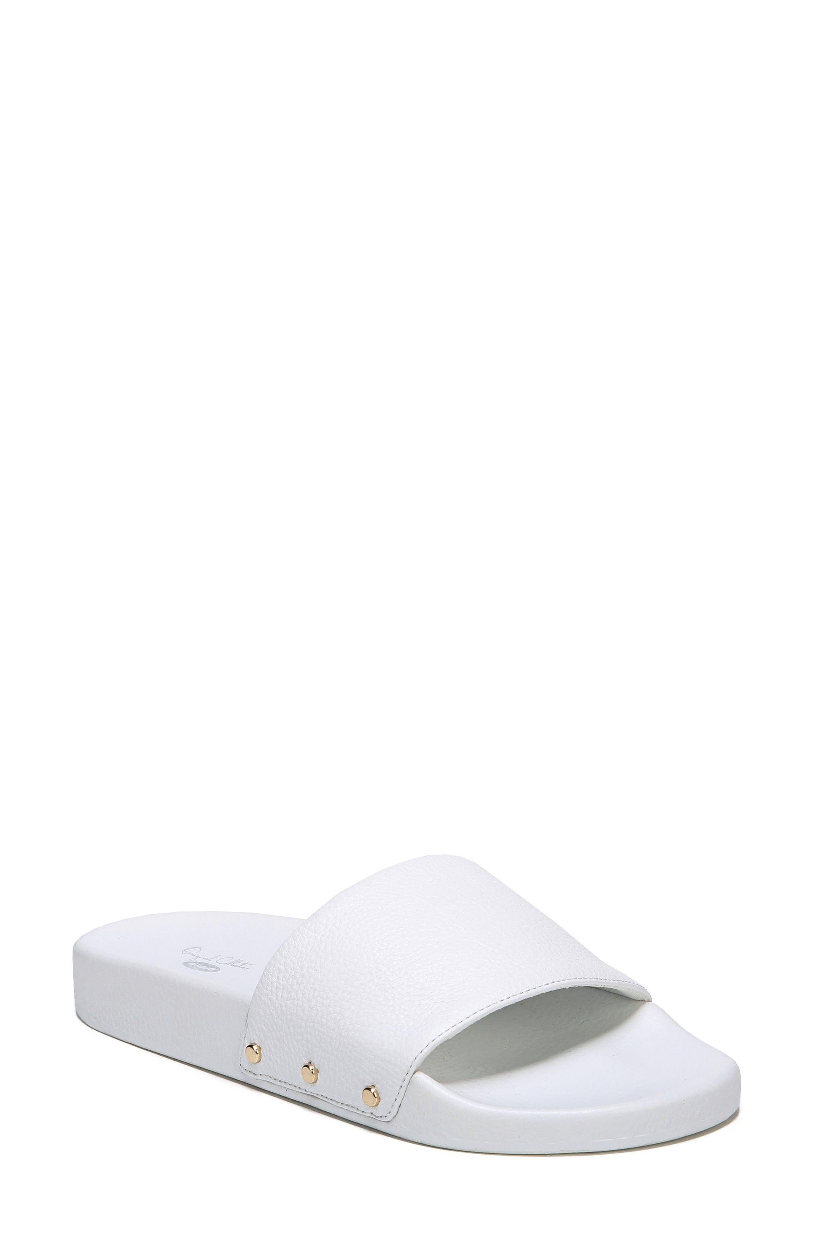 Pisces Slide Sandal,                             Main thumbnail 1, color,                             White Leather