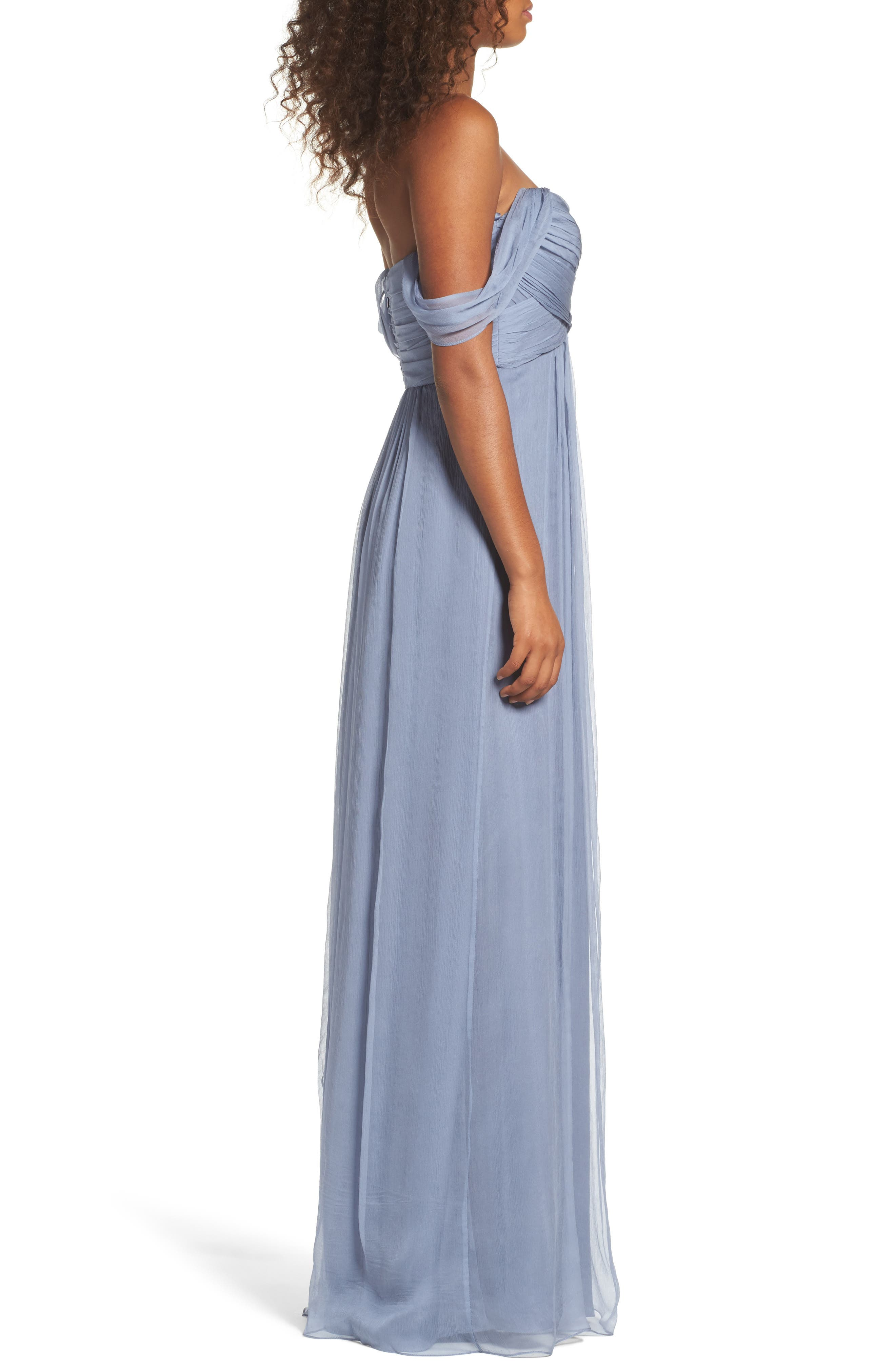 Convertible Crinkled Silk Chiffon Gown,                             Alternate thumbnail 3, color,                             Slate/ Slate