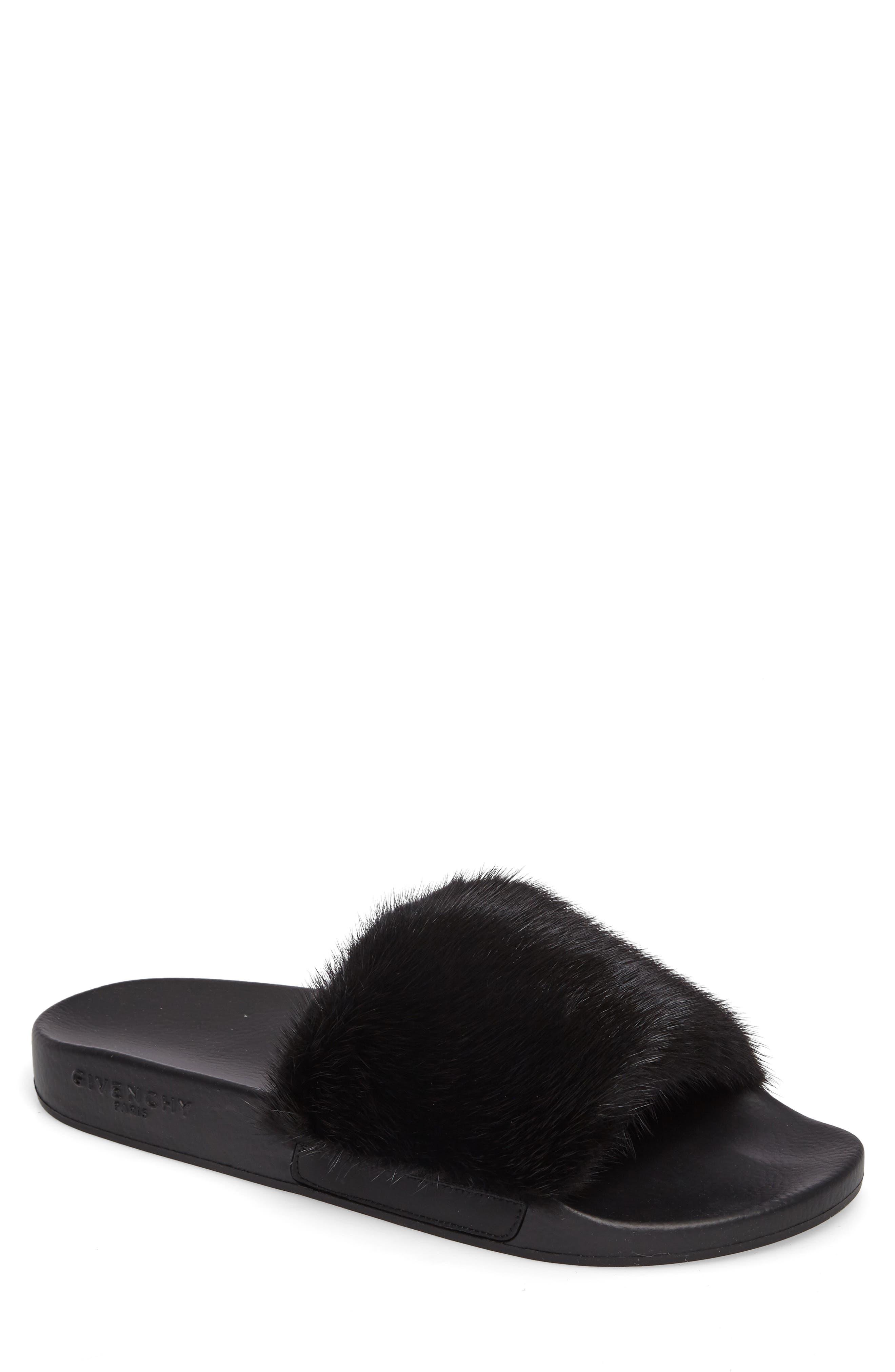 Genuine Mink Fur Slide Sandal,                             Main thumbnail 1, color,                             Black