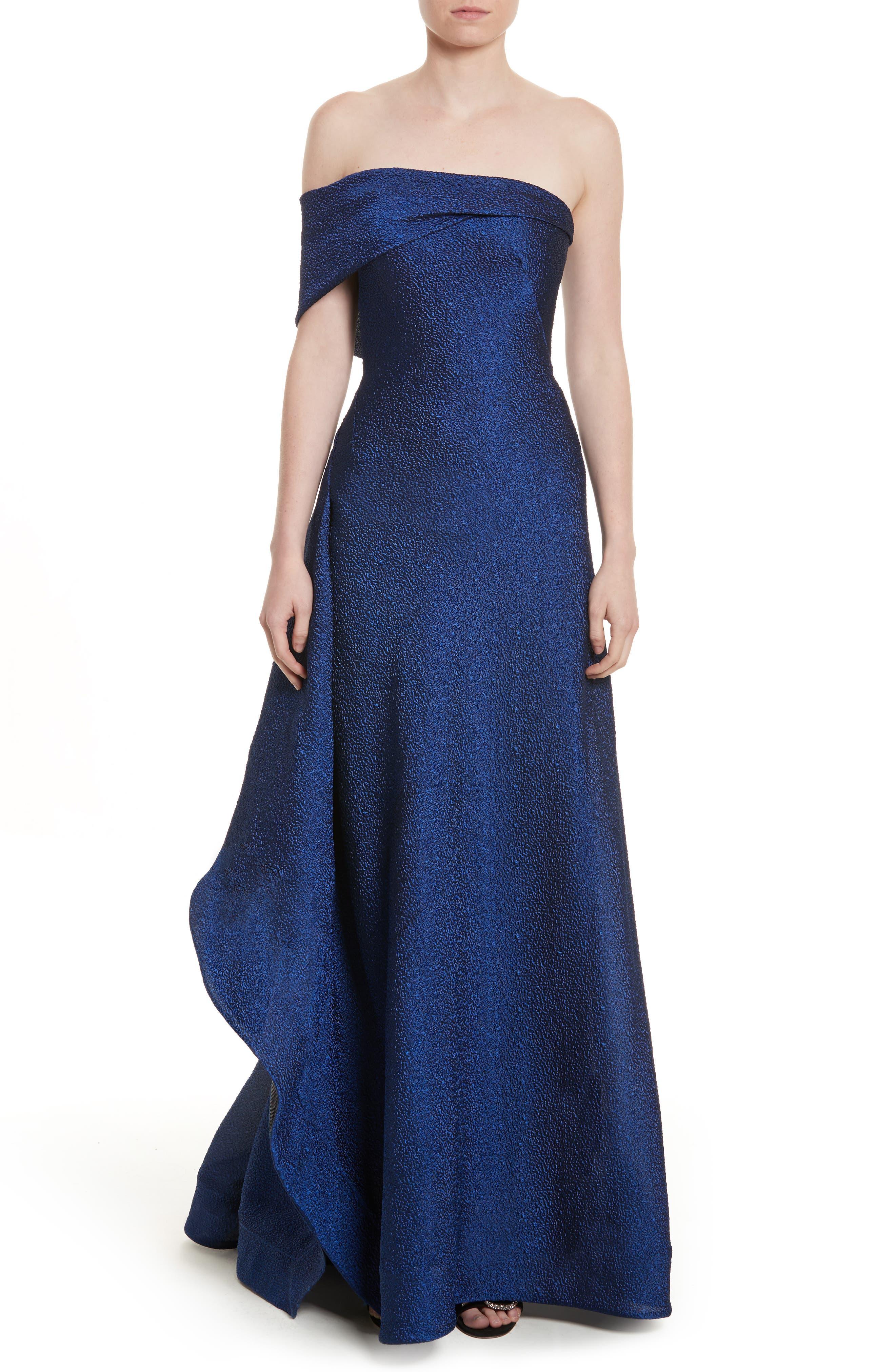 Side Drape Strapless Gown,                         Main,                         color, Blue