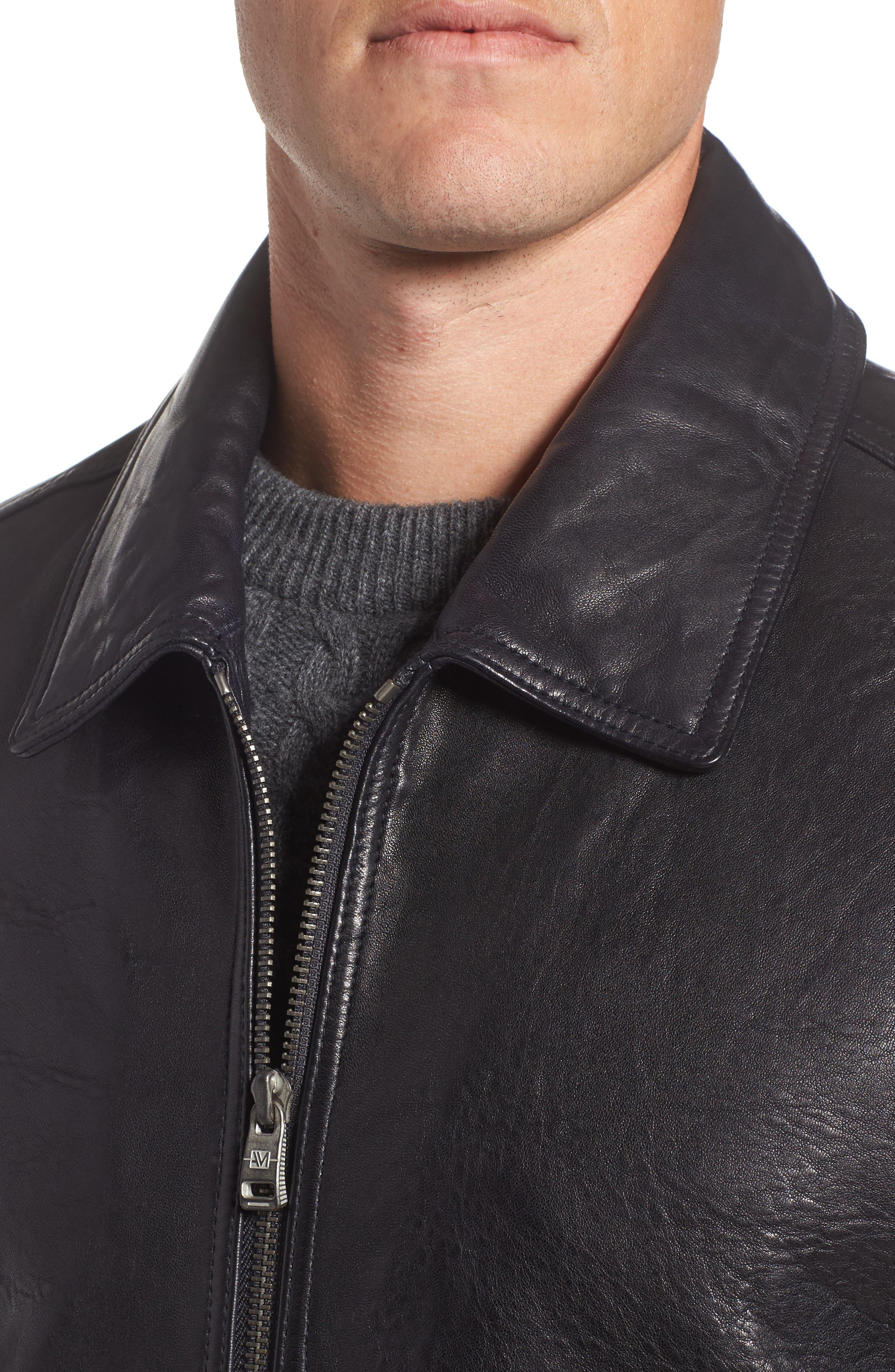 Morrison Spread Collar Leather Jacket,                             Alternate thumbnail 4, color,                             Ink