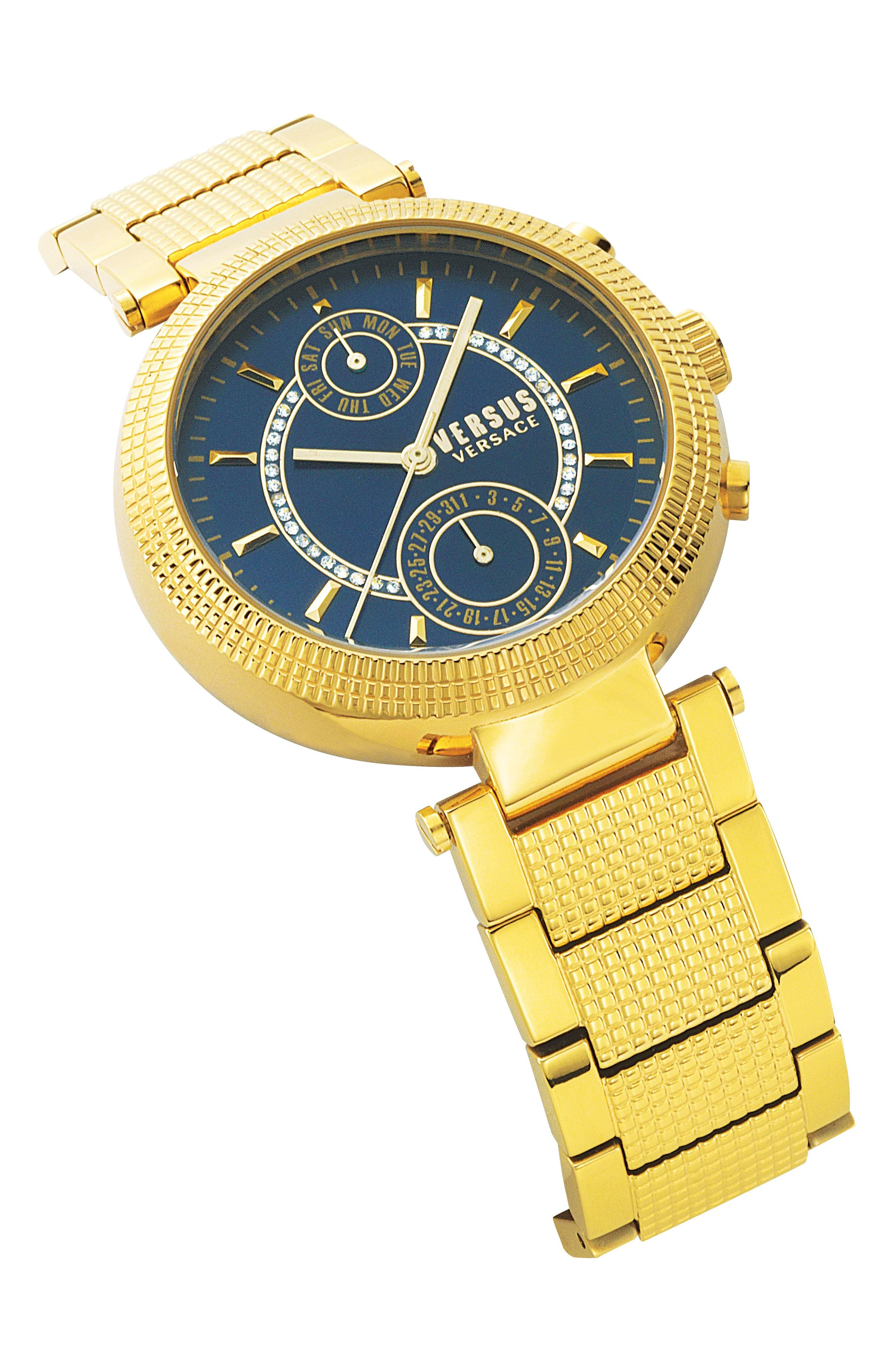 Versus by Versace Star Ferry Chronograph Bracelet Watch, 38mm,                             Alternate thumbnail 3, color,                             Gold/ Blue/ Gold