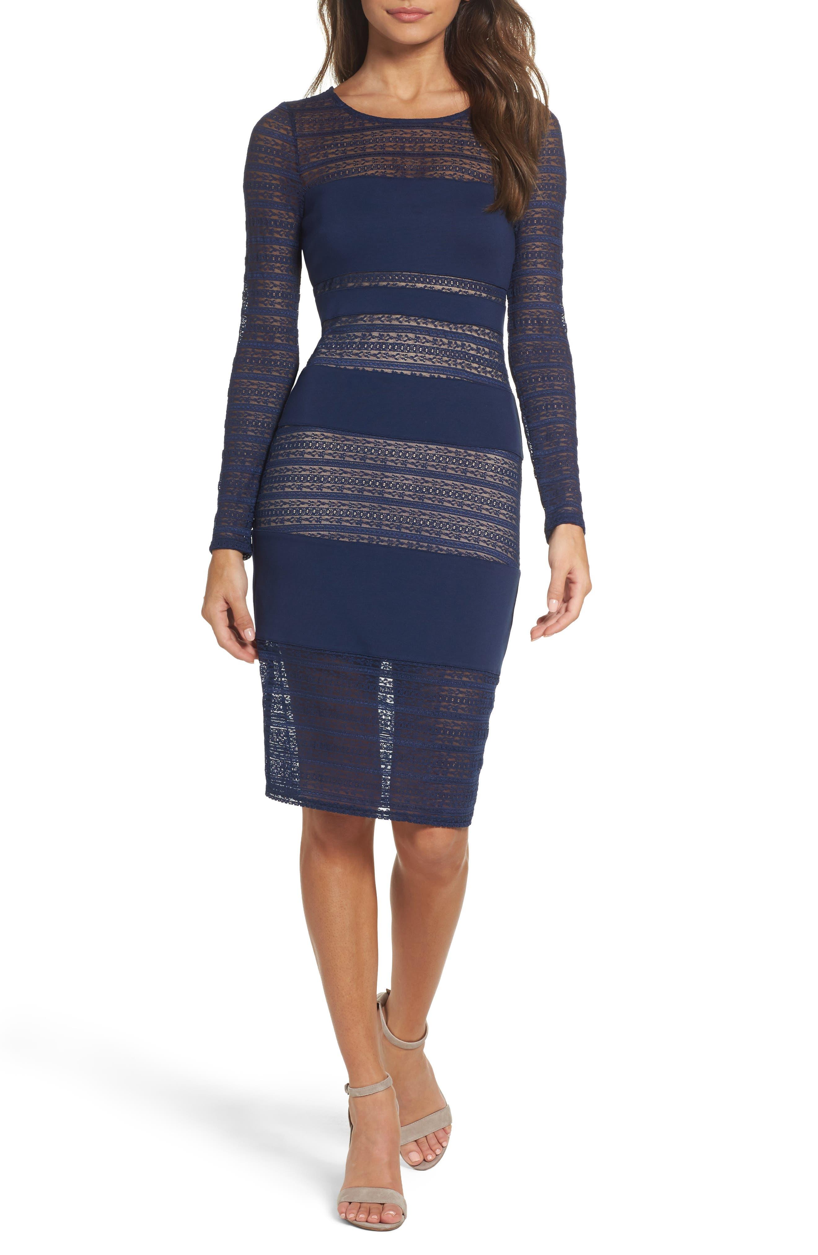 Lovestruck Stripe Body-Con Dress,                             Main thumbnail 1, color,                             Navy