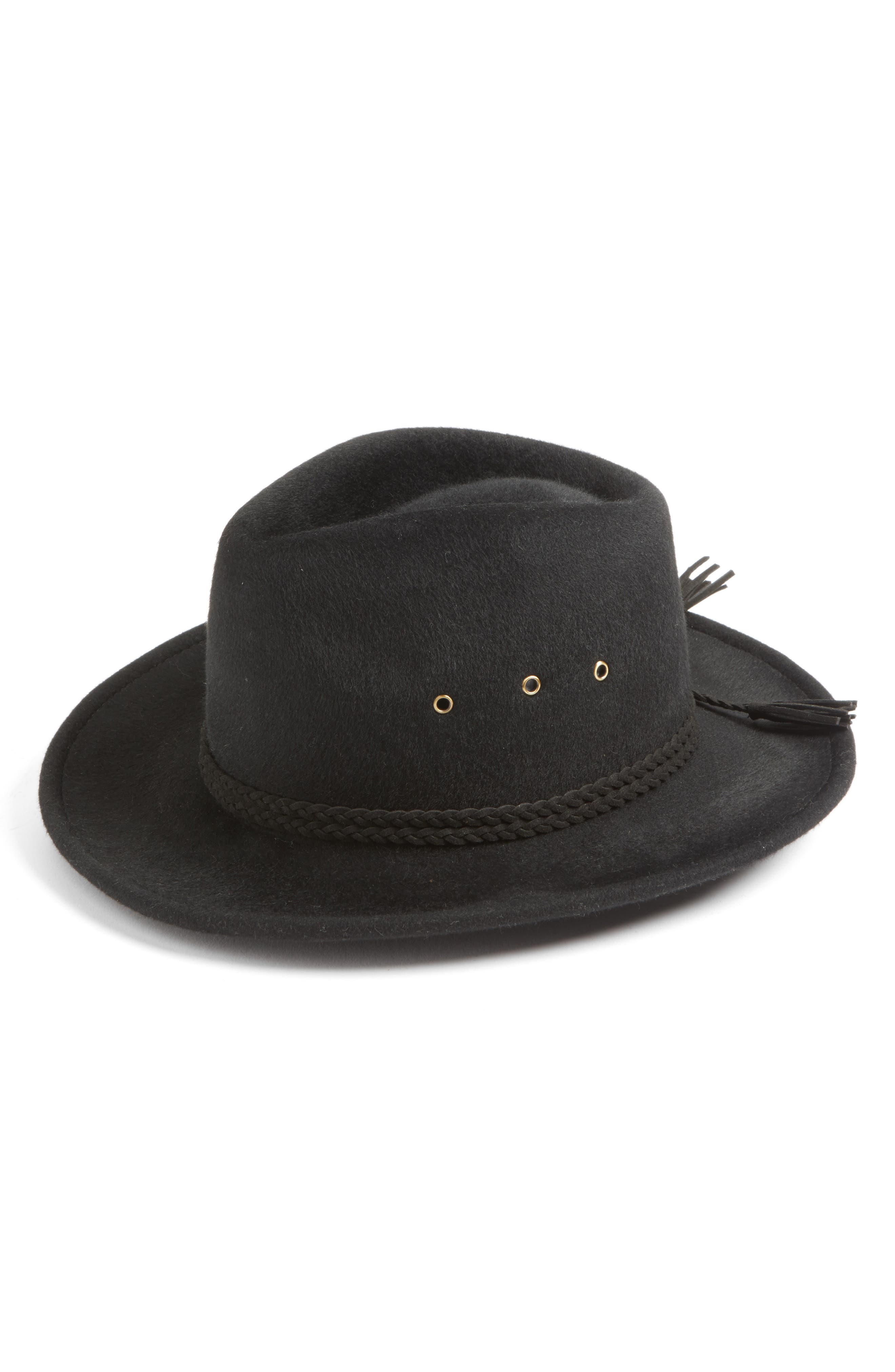 Stanwyck Wool Felt Fedora,                         Main,                         color, Black