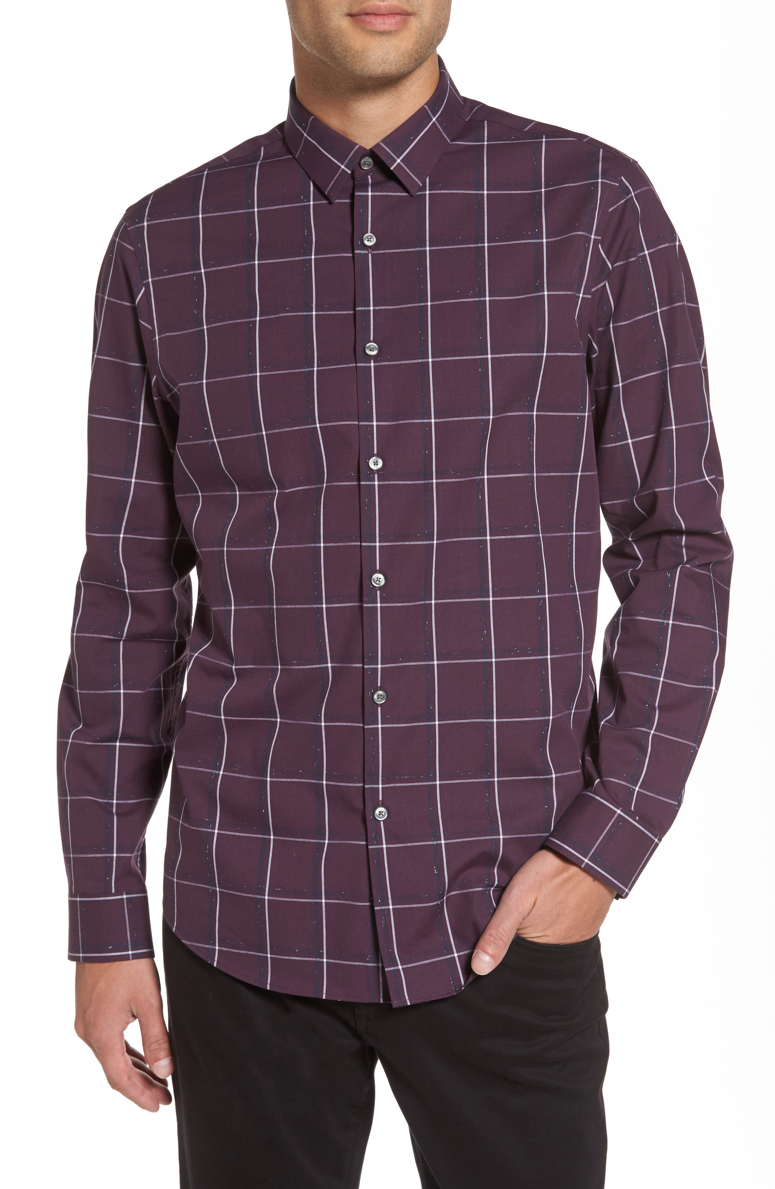 Check Sport Shirt,                             Main thumbnail 1, color,                             Purple Plum White Grid