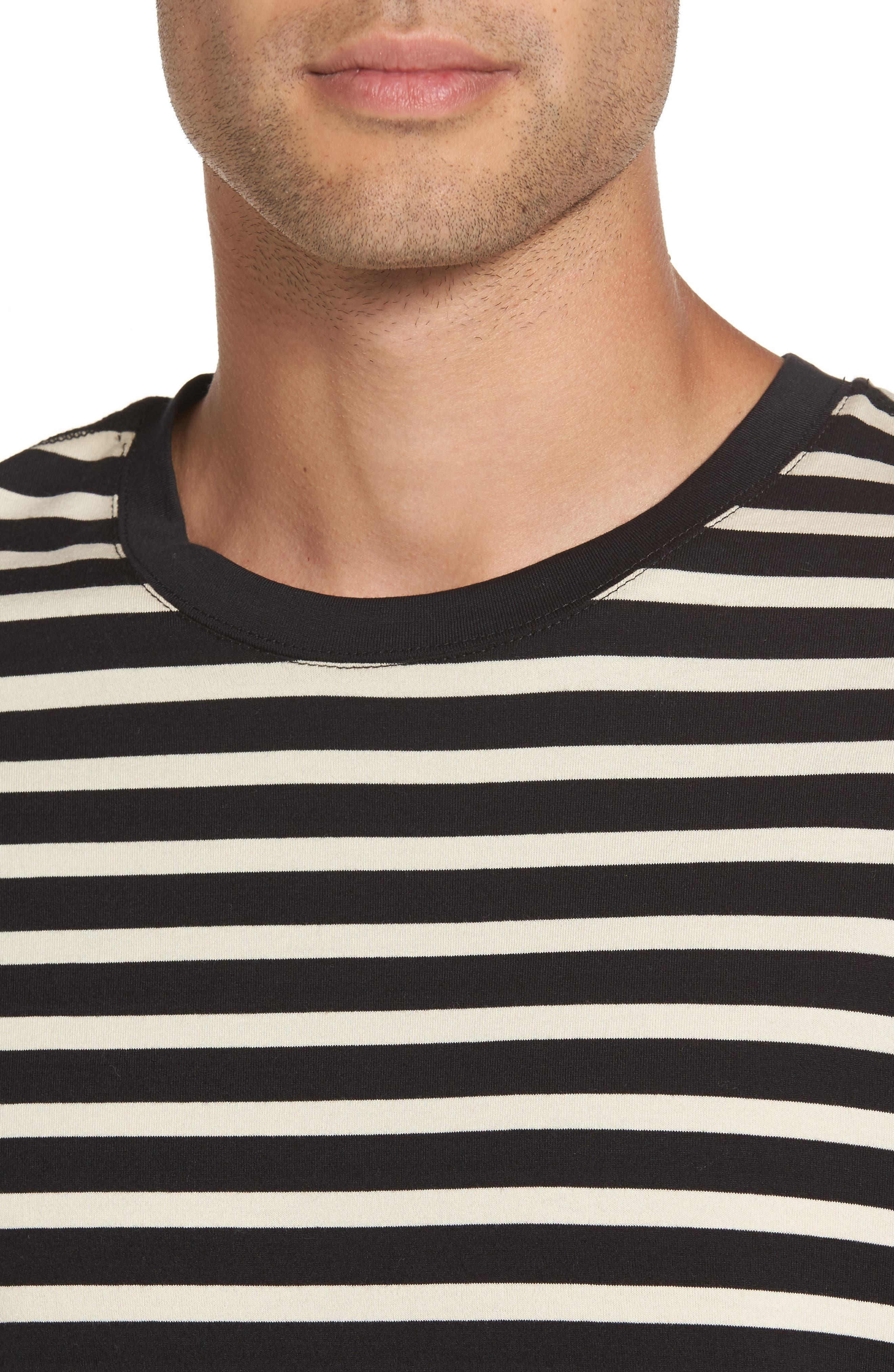 Stripe T-Shirt,                             Alternate thumbnail 4, color,                             Black/ Off White