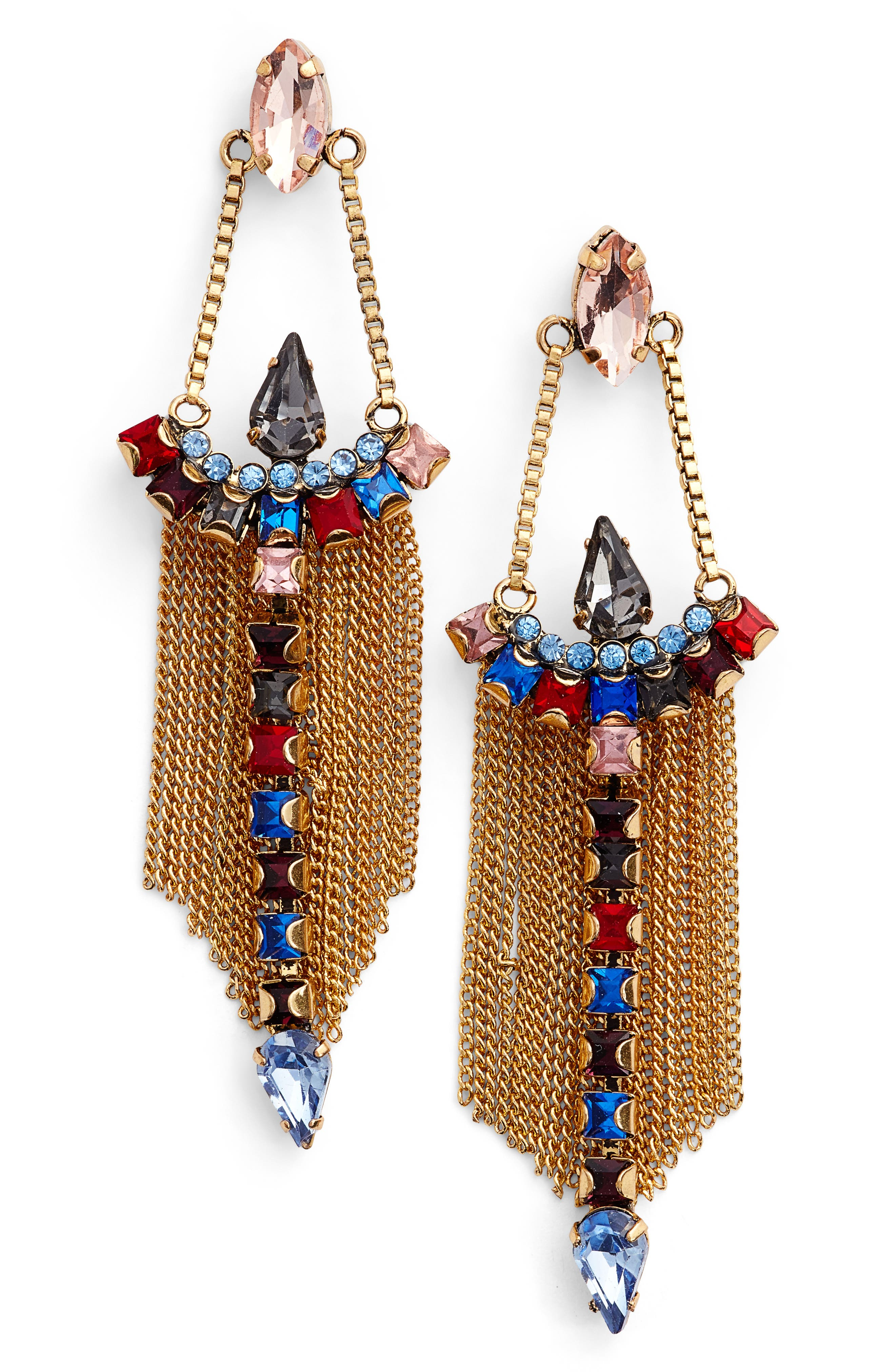 Clara Chandelier Earrings,                         Main,                         color, Bright Multi/ Gold