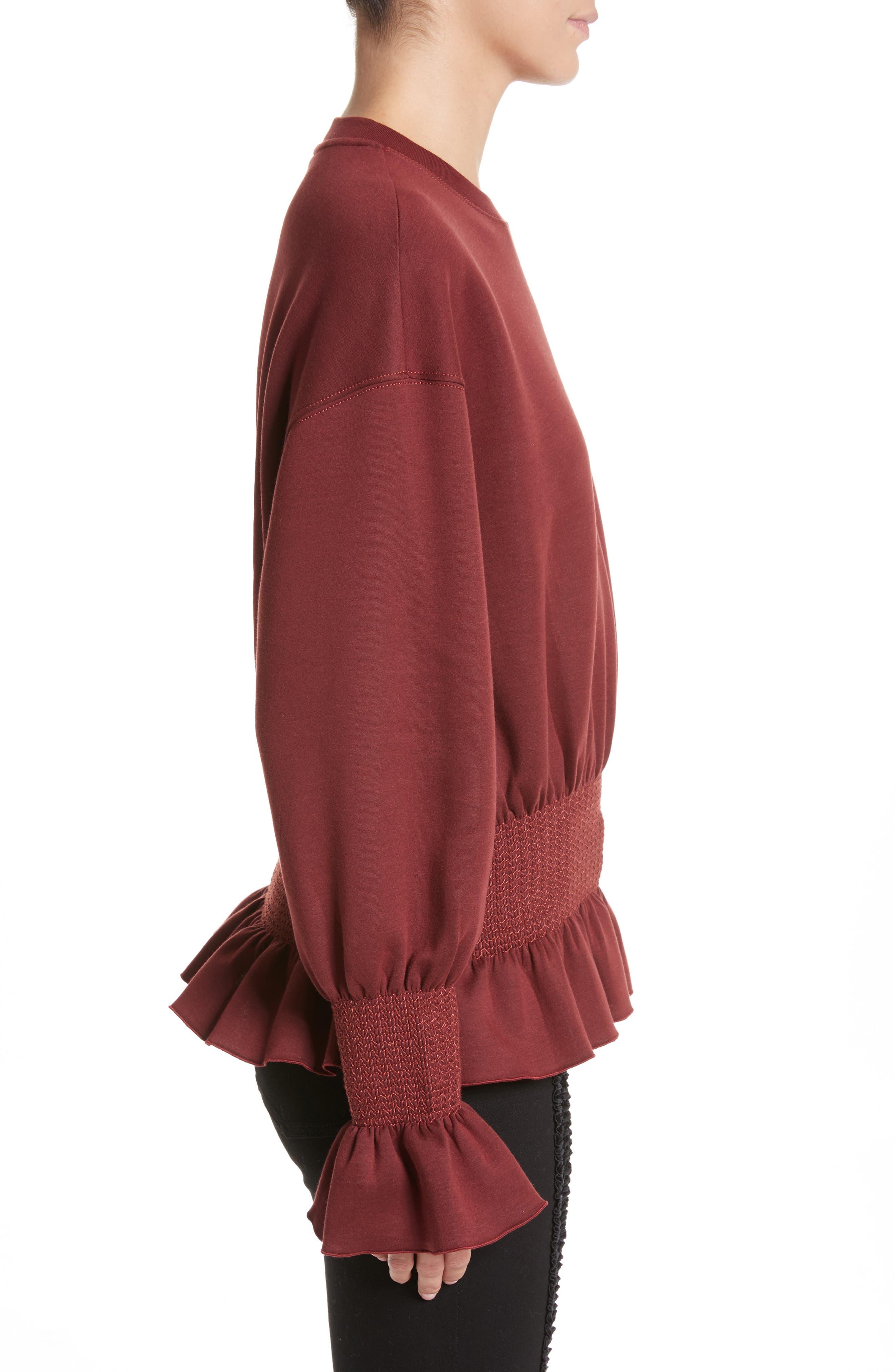 Ruched Ruffle Waist Sweatshirt,                             Alternate thumbnail 3, color,                             Dark Burgundy