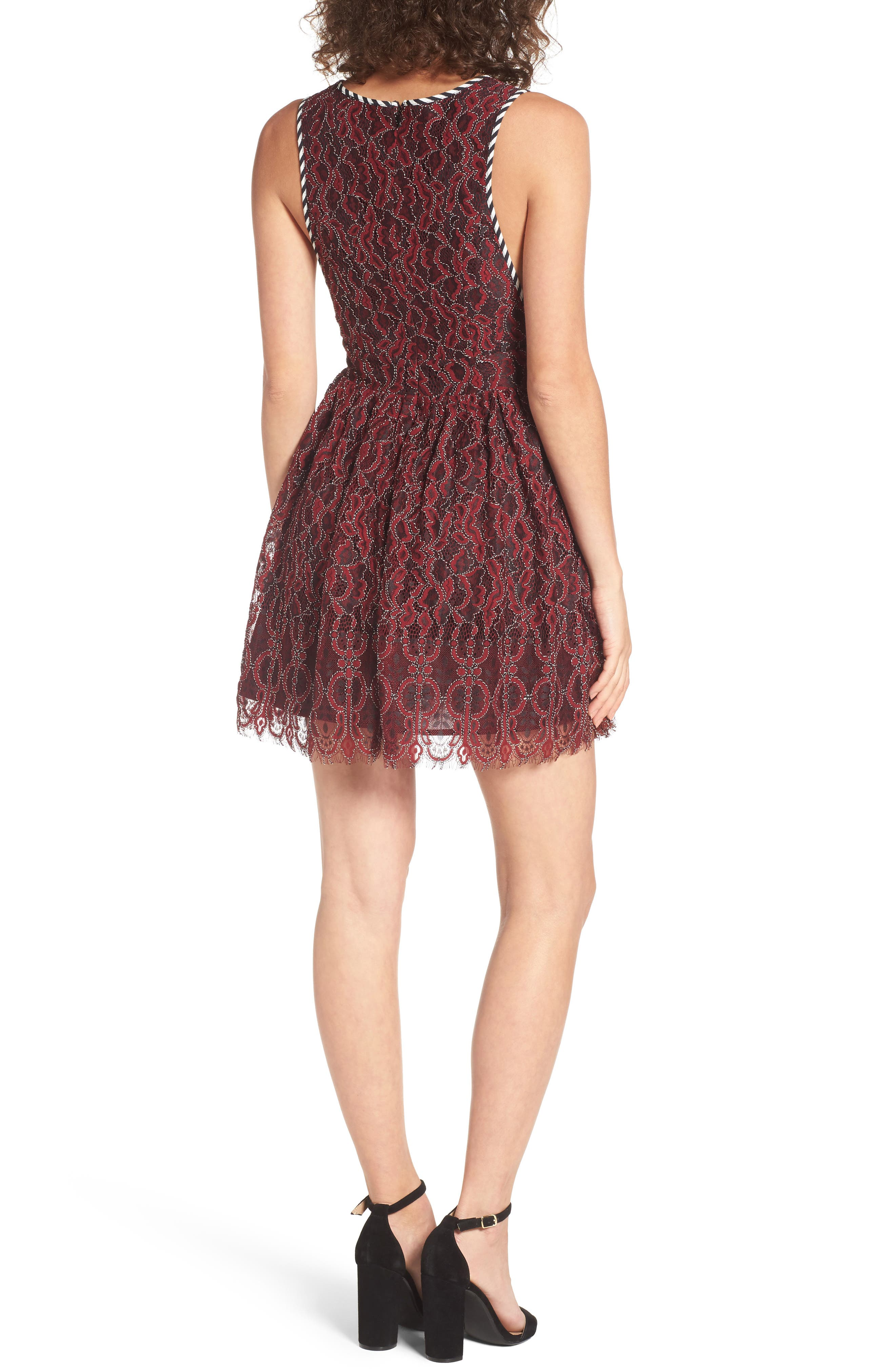 Starry Night Lace Minidress,                             Alternate thumbnail 2, color,                             Corded Oxblood