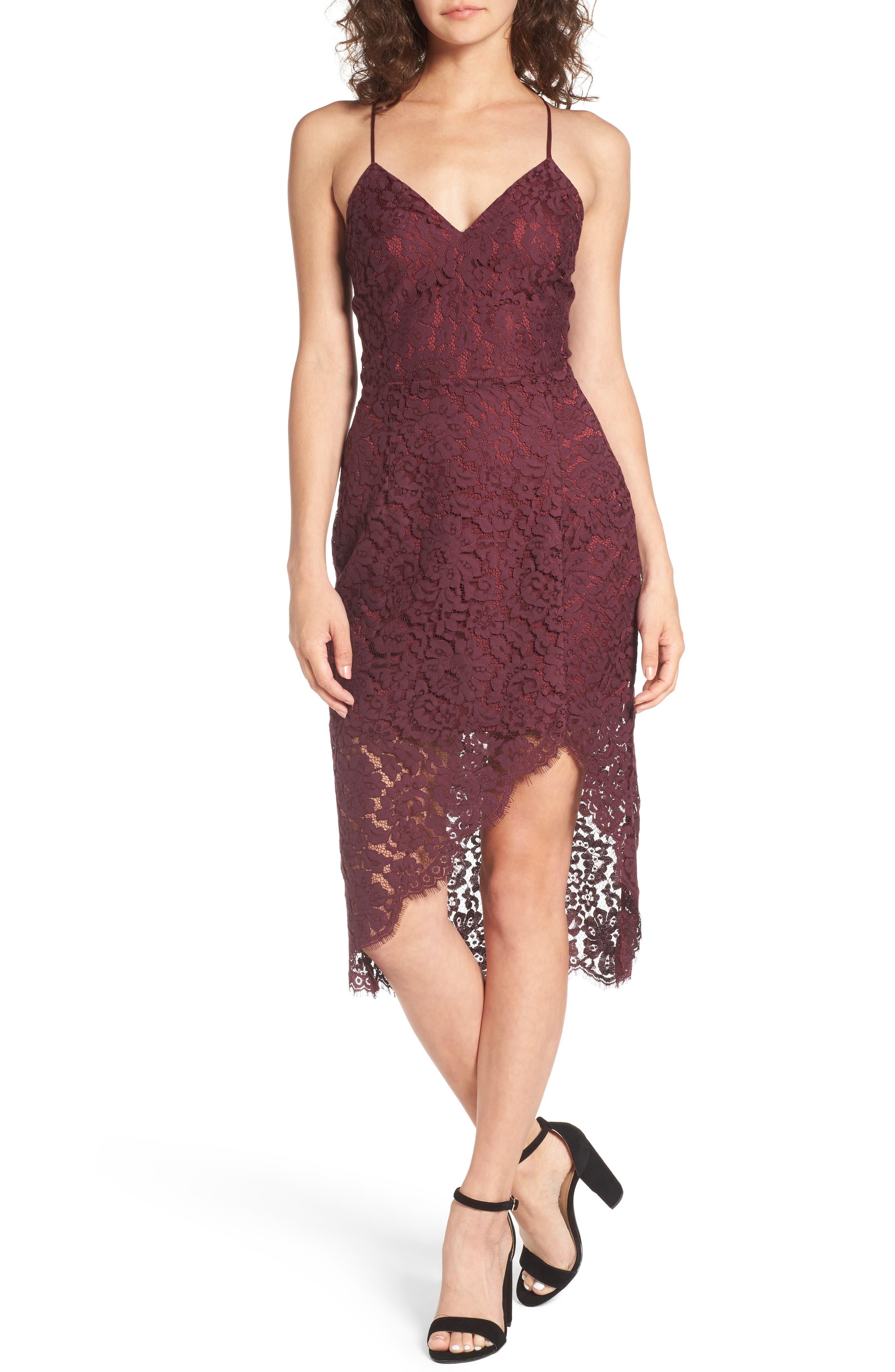 Skylight Lace Midi Dress,                         Main,                         color, Merlot