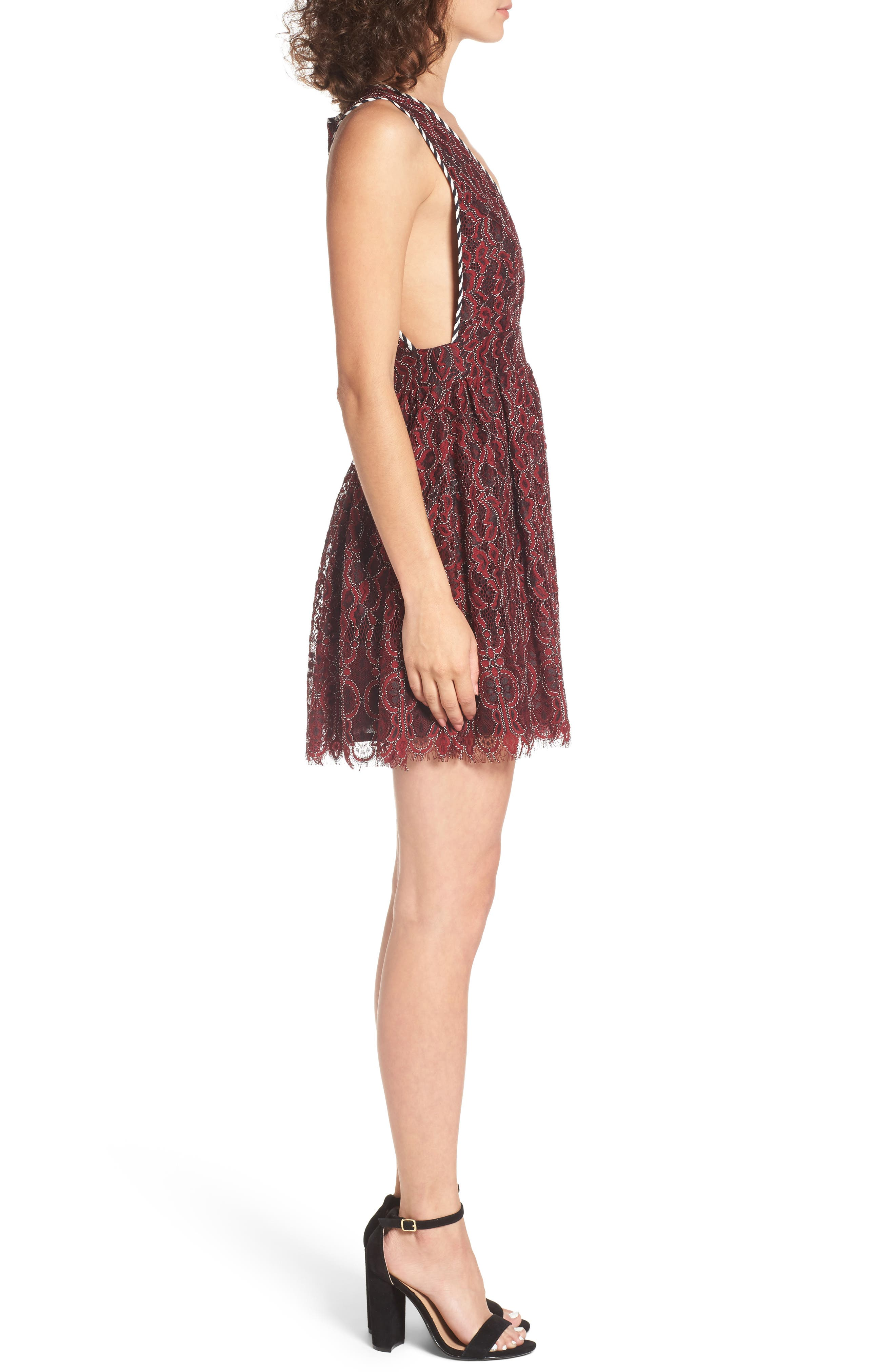 Starry Night Lace Minidress,                             Alternate thumbnail 3, color,                             Corded Oxblood