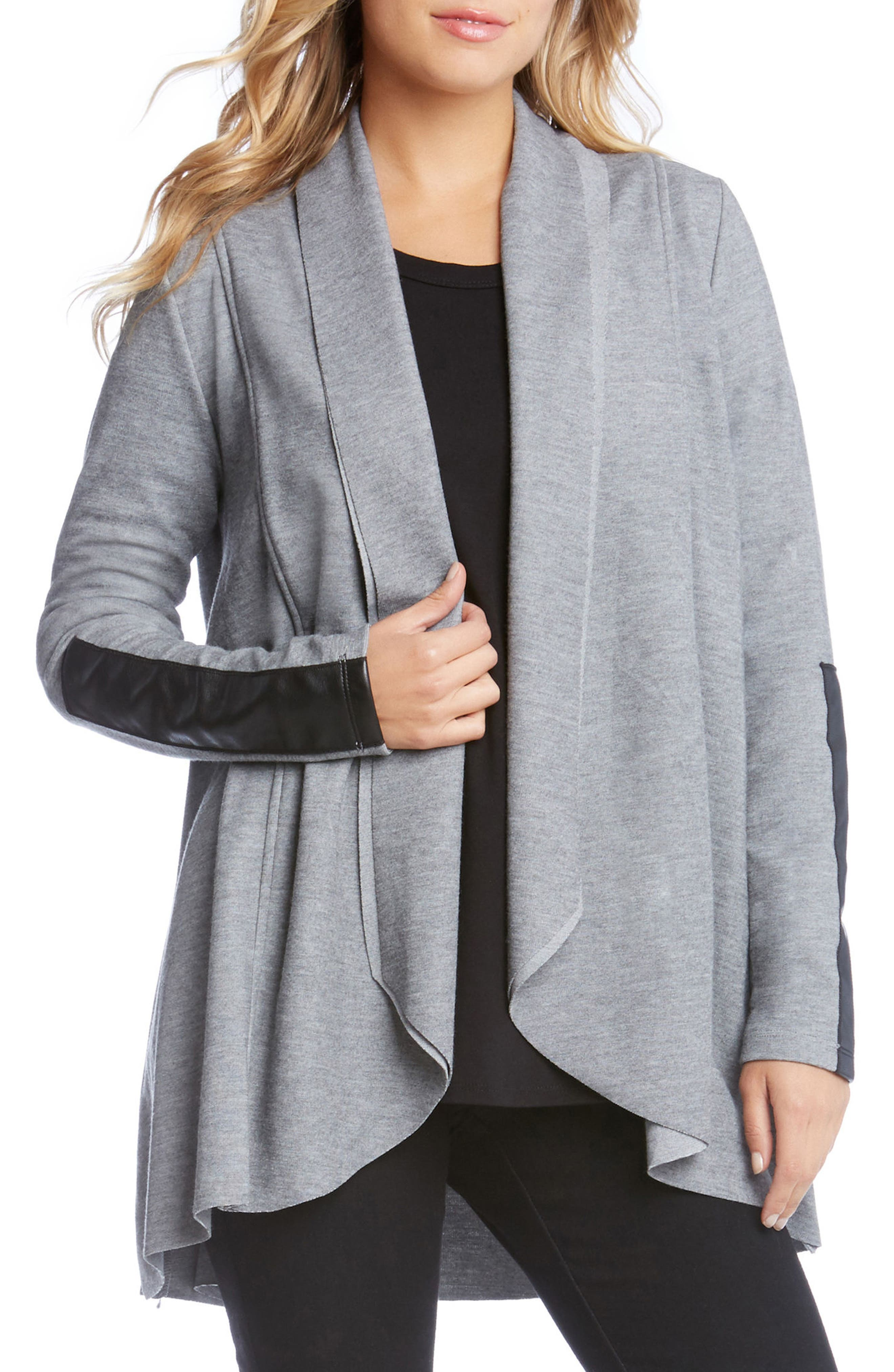 Alternate Image 1 Selected - Karen Kane Faux Leather Trim Drape Cardigan