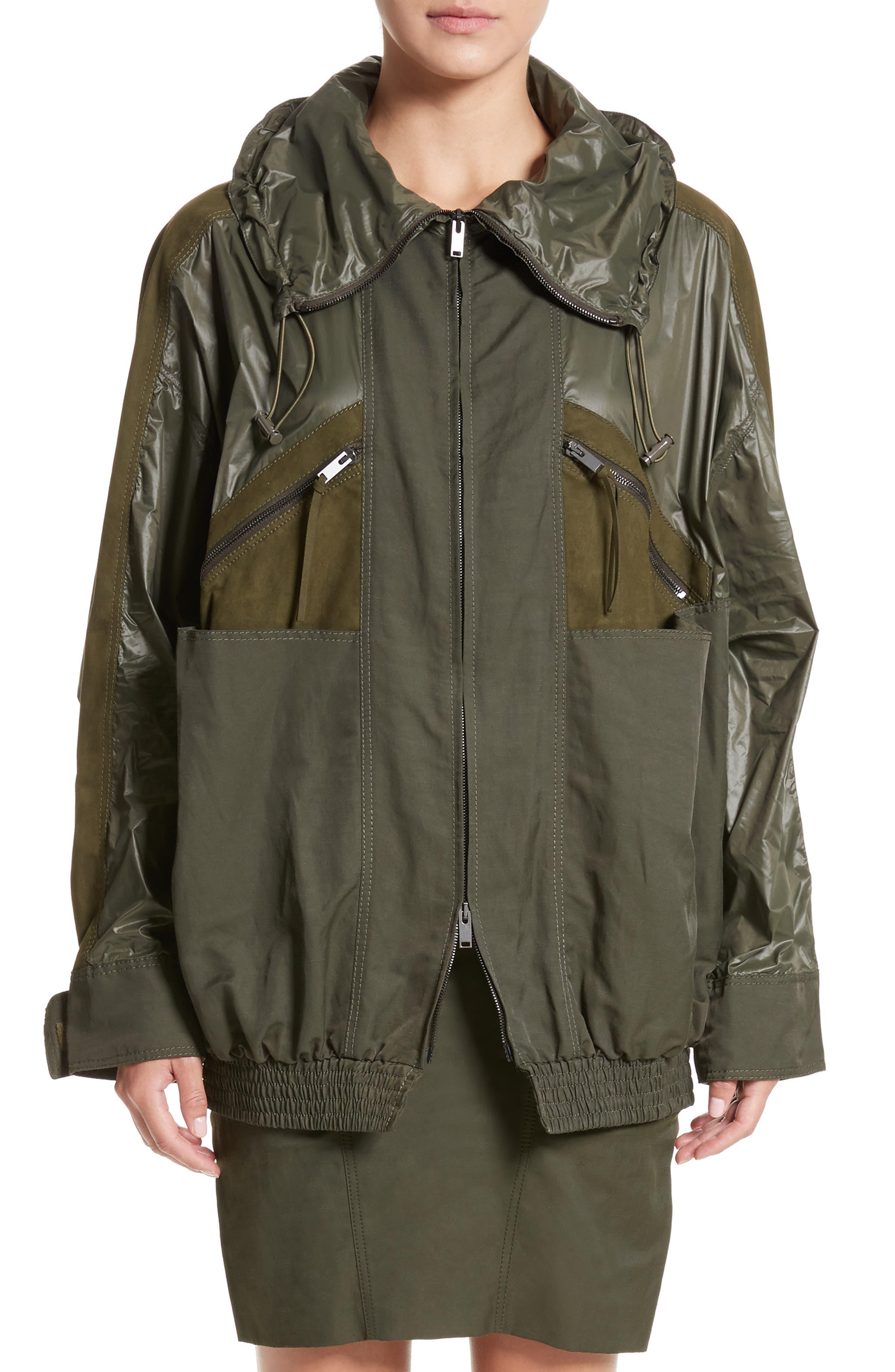 Alter Suede Trim Windbreaker Jacket,                         Main,                         color, Loden