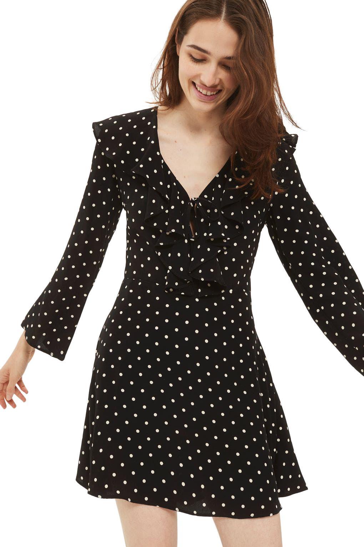 TOPSHOP Polka Dot Ruffle Minidress