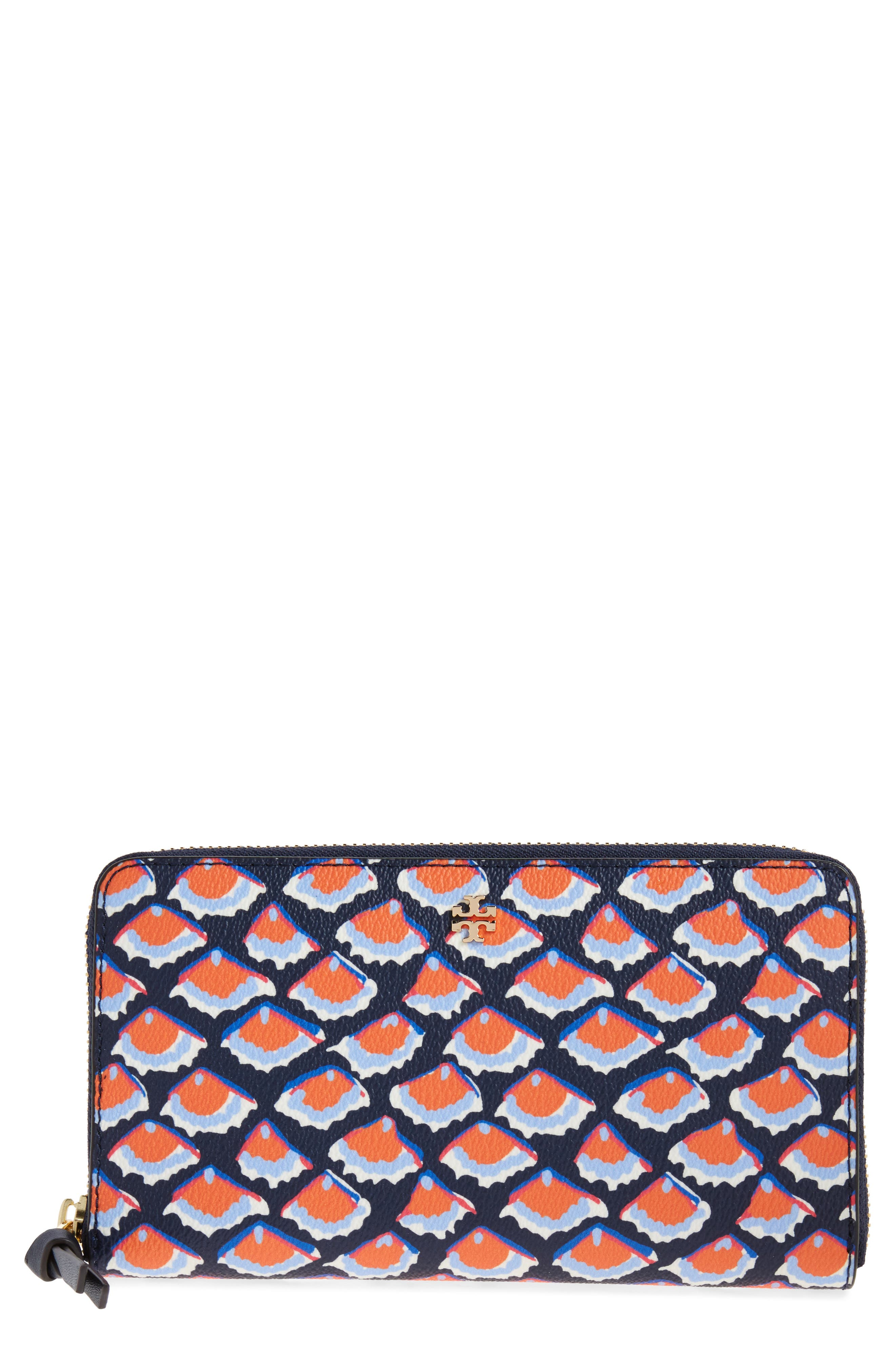 Main Image - Tory Burch Kerrington Coated Canvas Zip Around Wallet